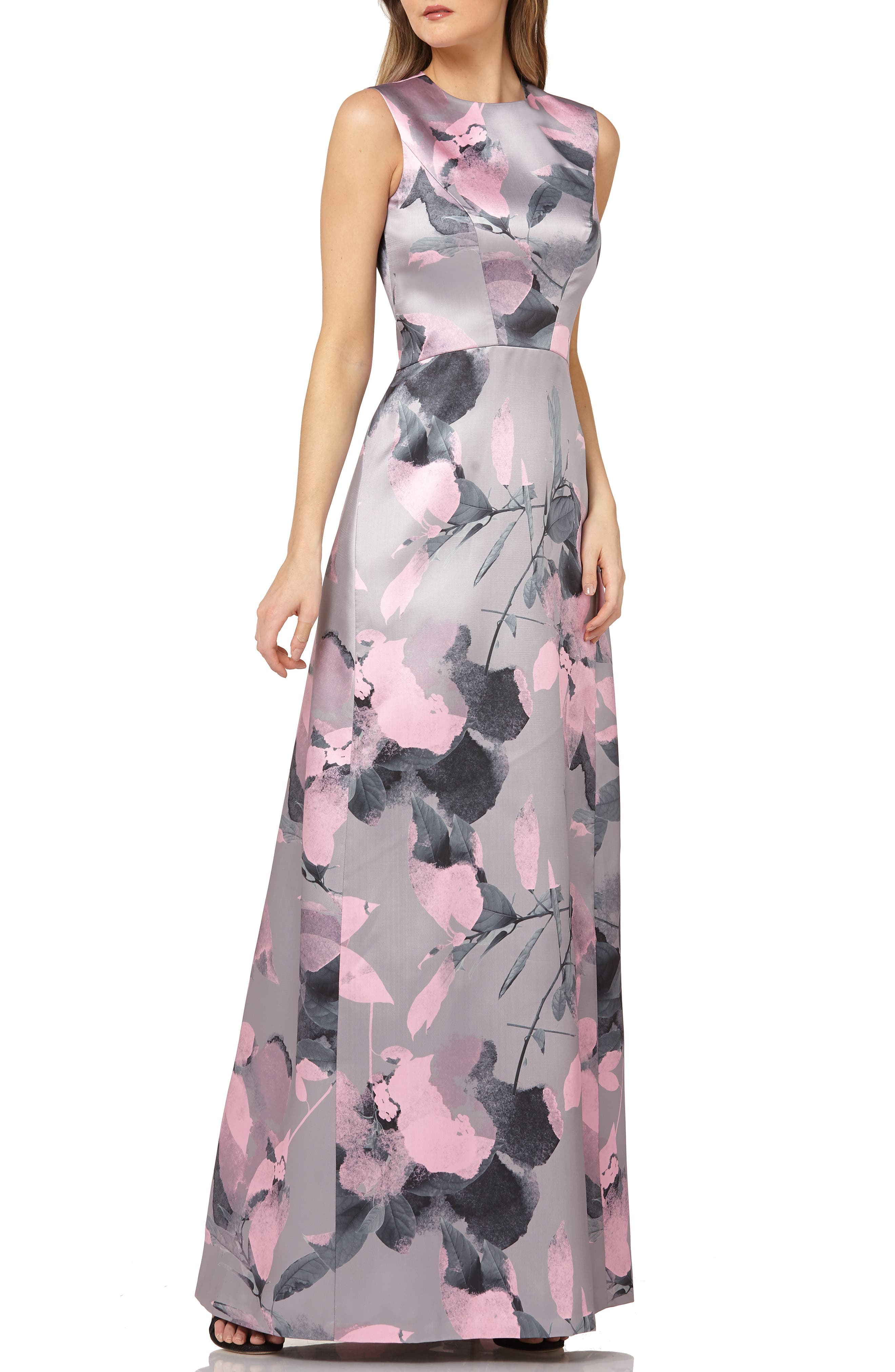 Kay Unger Floral Print Satin Gown, Grey