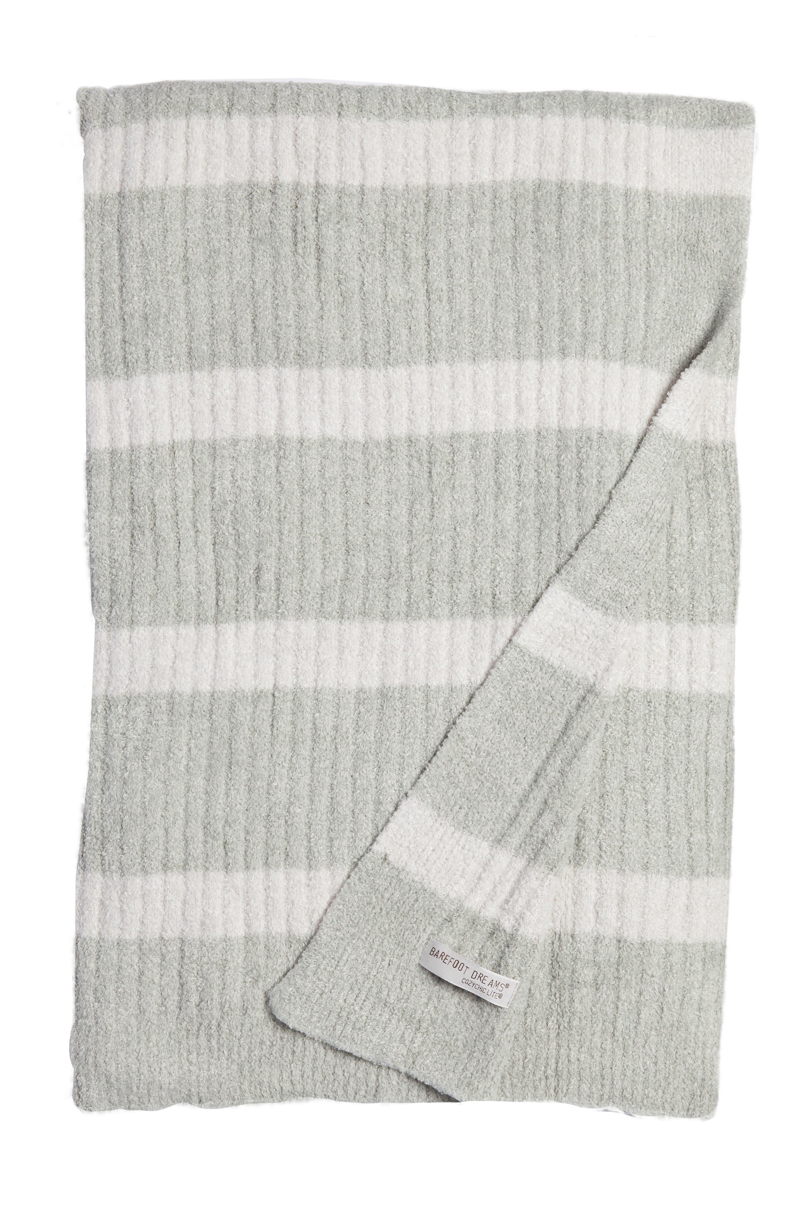 CozyChic Lite<sup>®</sup> Stripe Throw Blanket,                         Main,                         color, SEAFOAM GREEN-PEARL COMBO