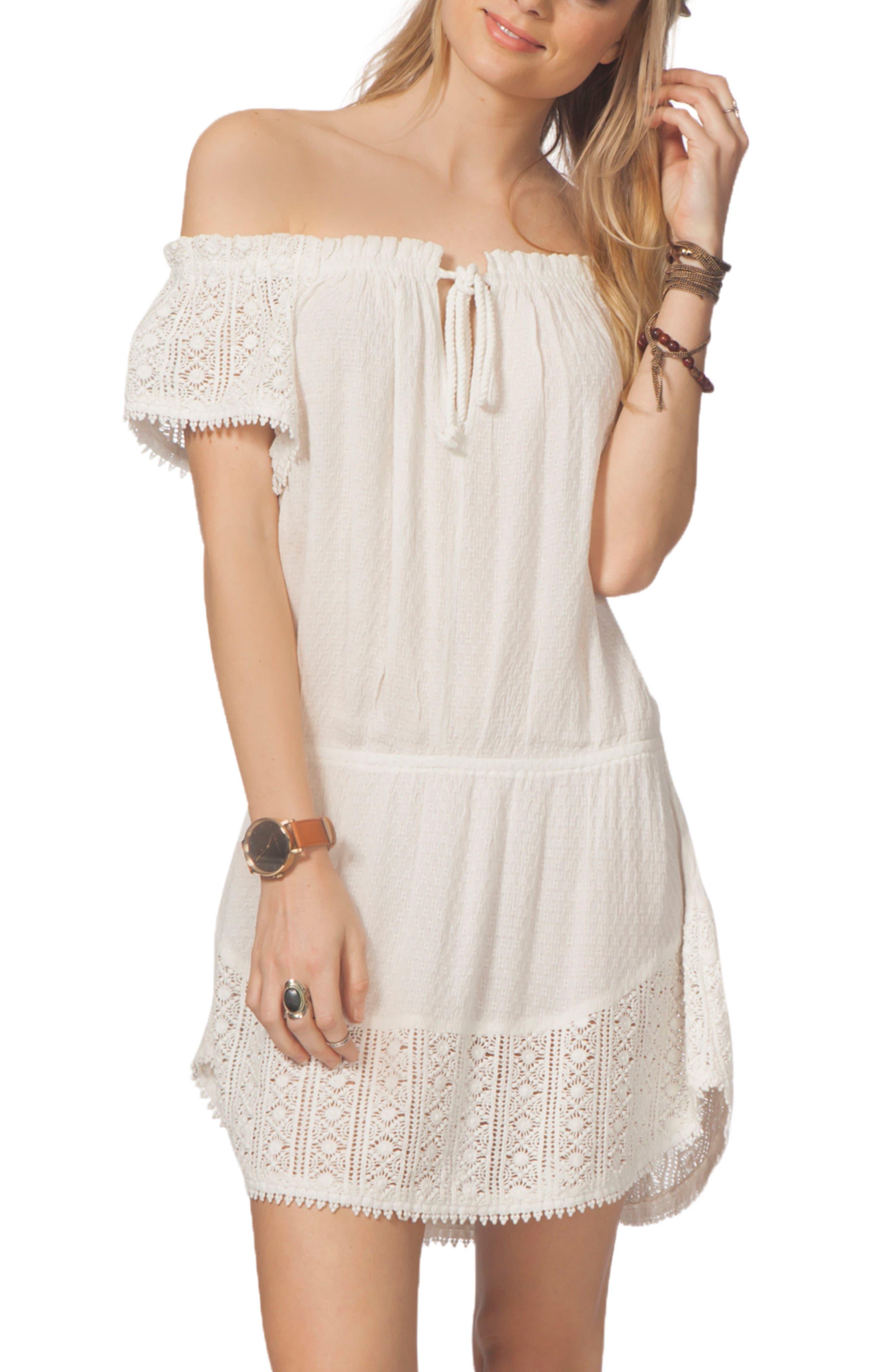 Amara Off the Shoulder Cover-Up Dress,                         Main,                         color, 100