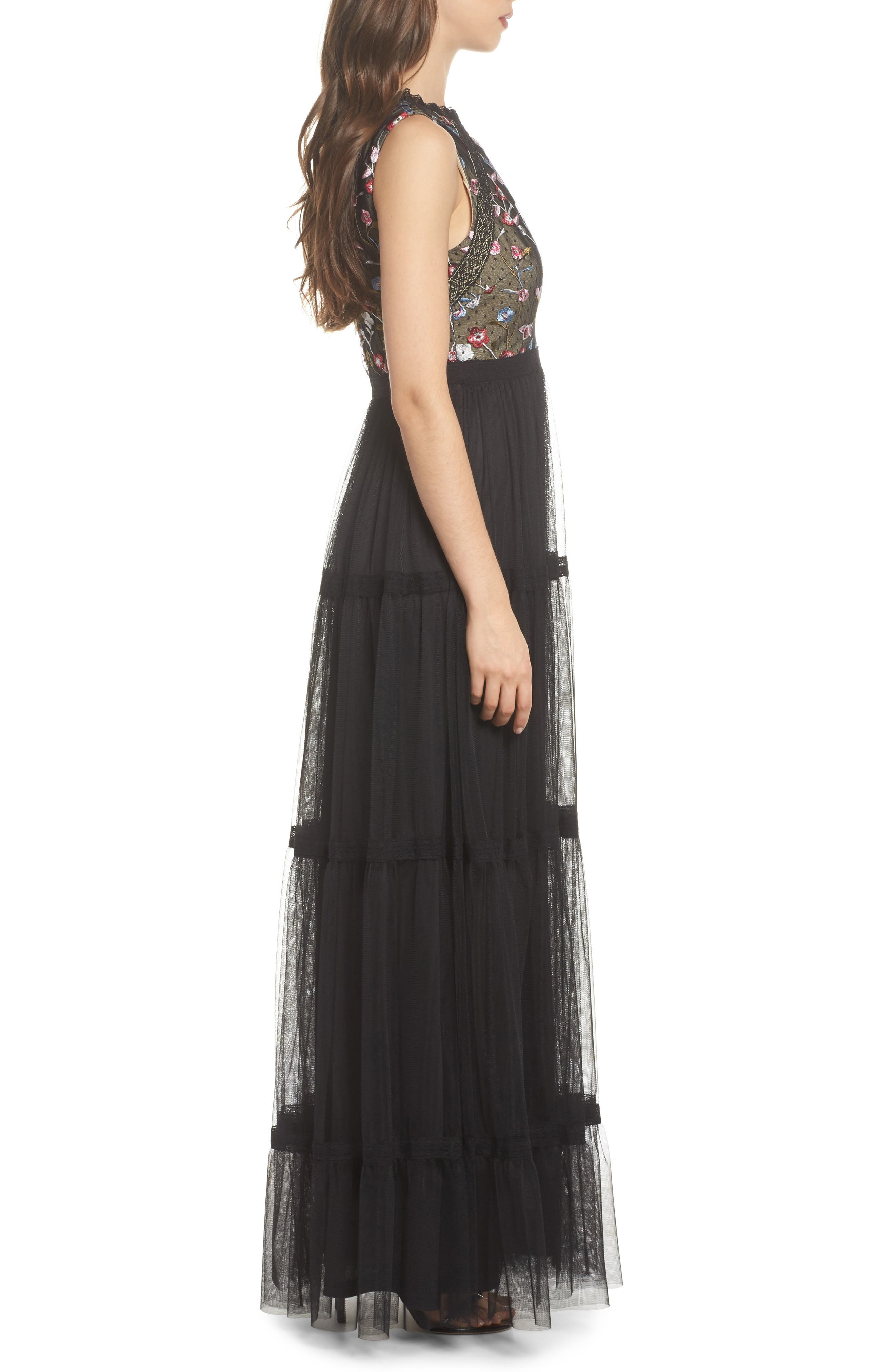ADRIANNA PAPELL,                             Embroidered Tiered Tulle Gown,                             Alternate thumbnail 3, color,                             001