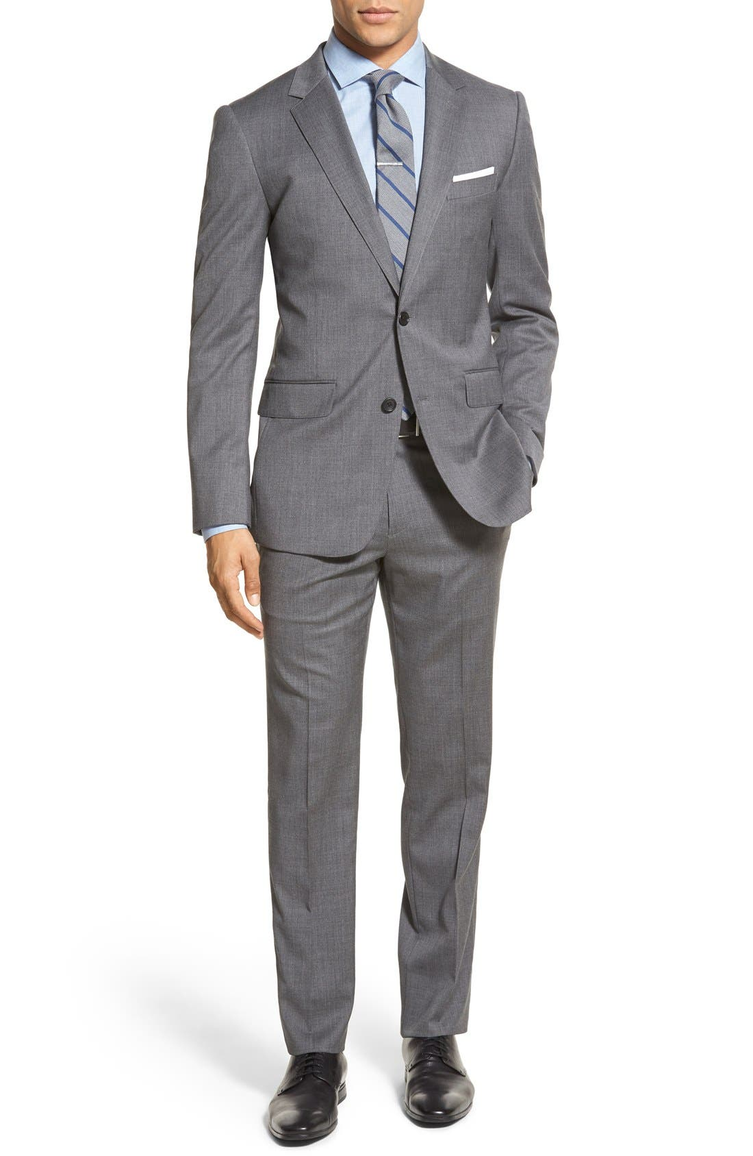 Trim Fit Solid Stretch Wool Sport Coat,                             Alternate thumbnail 3, color,