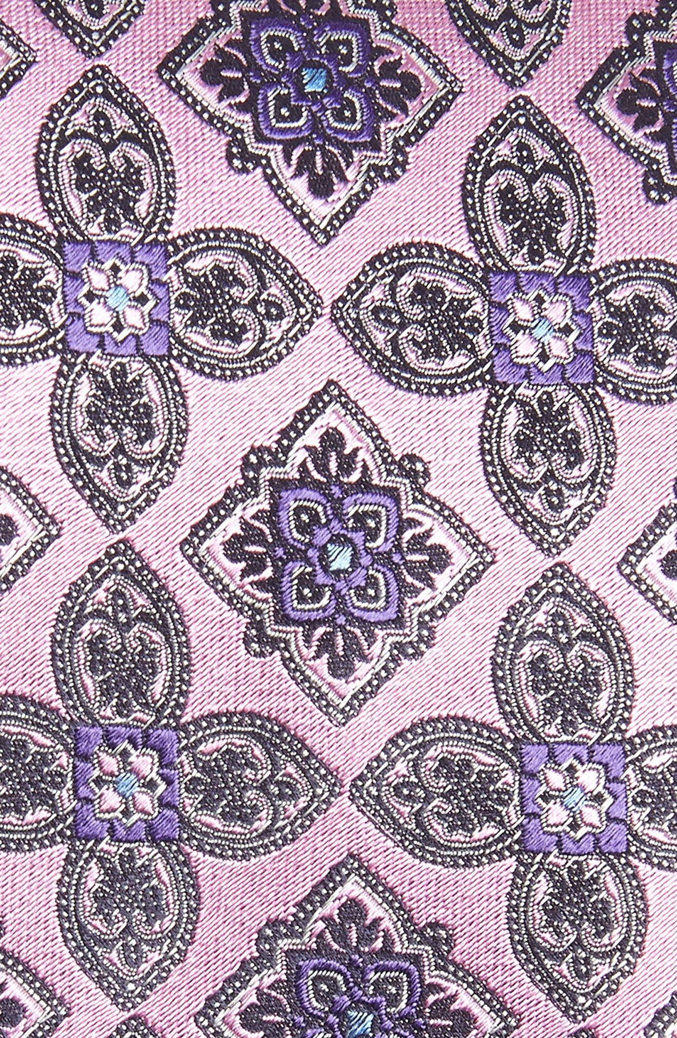 Medallion Silk Tie,                             Alternate thumbnail 2, color,                             PINK FAN