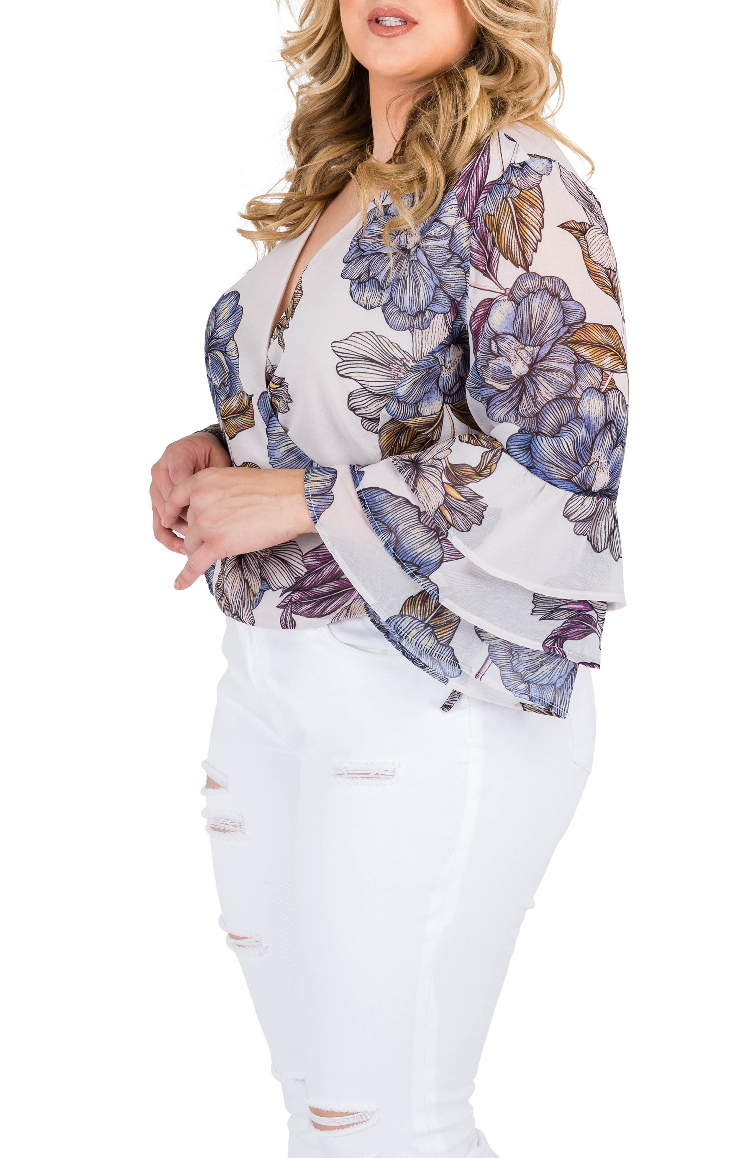 Miley Bell Sleeve Floral Wrap Top,                             Alternate thumbnail 3, color,                             027