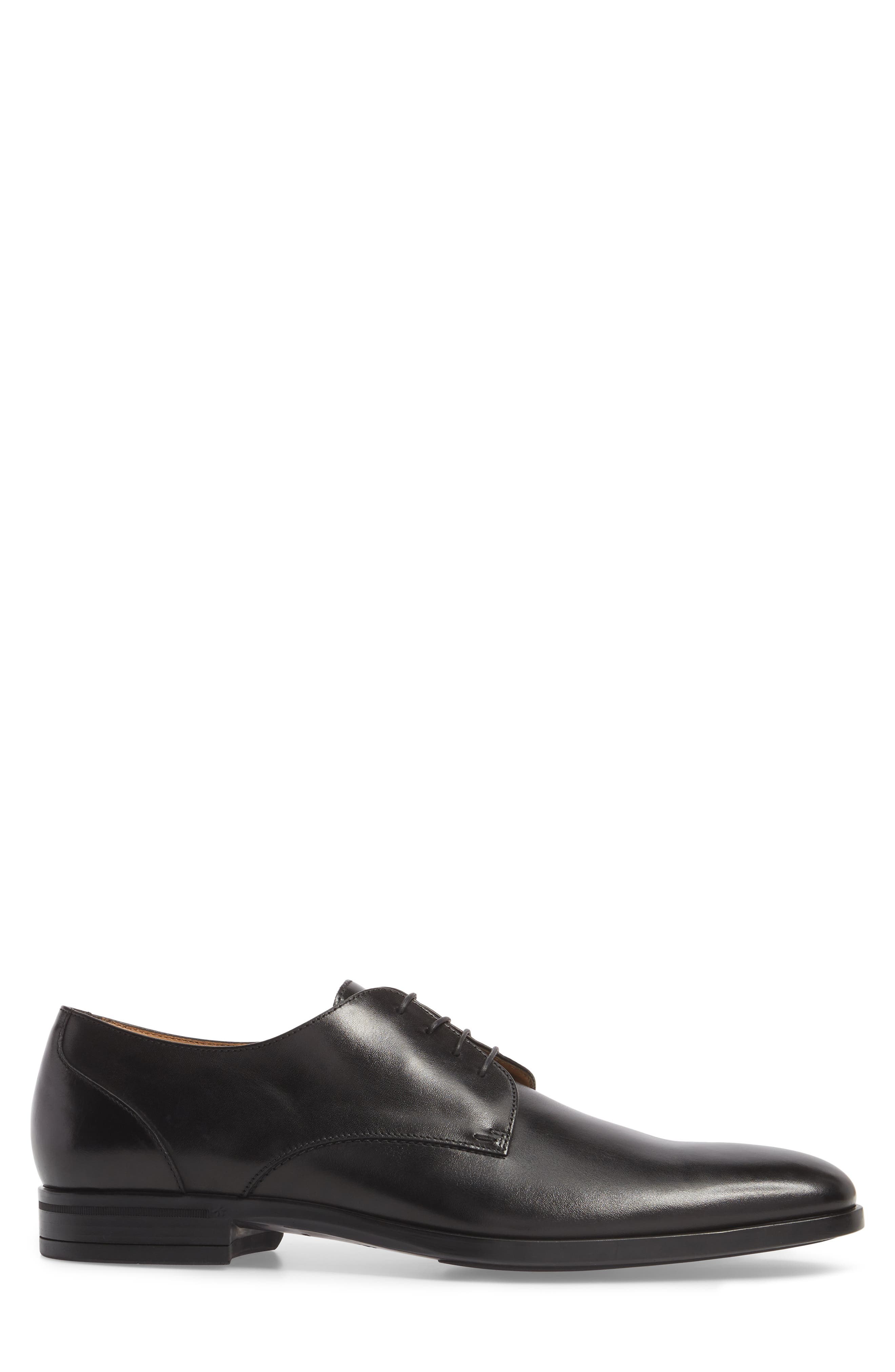 Portland Plain Toe Derby,                             Alternate thumbnail 3, color,                             BLACK LEATHER