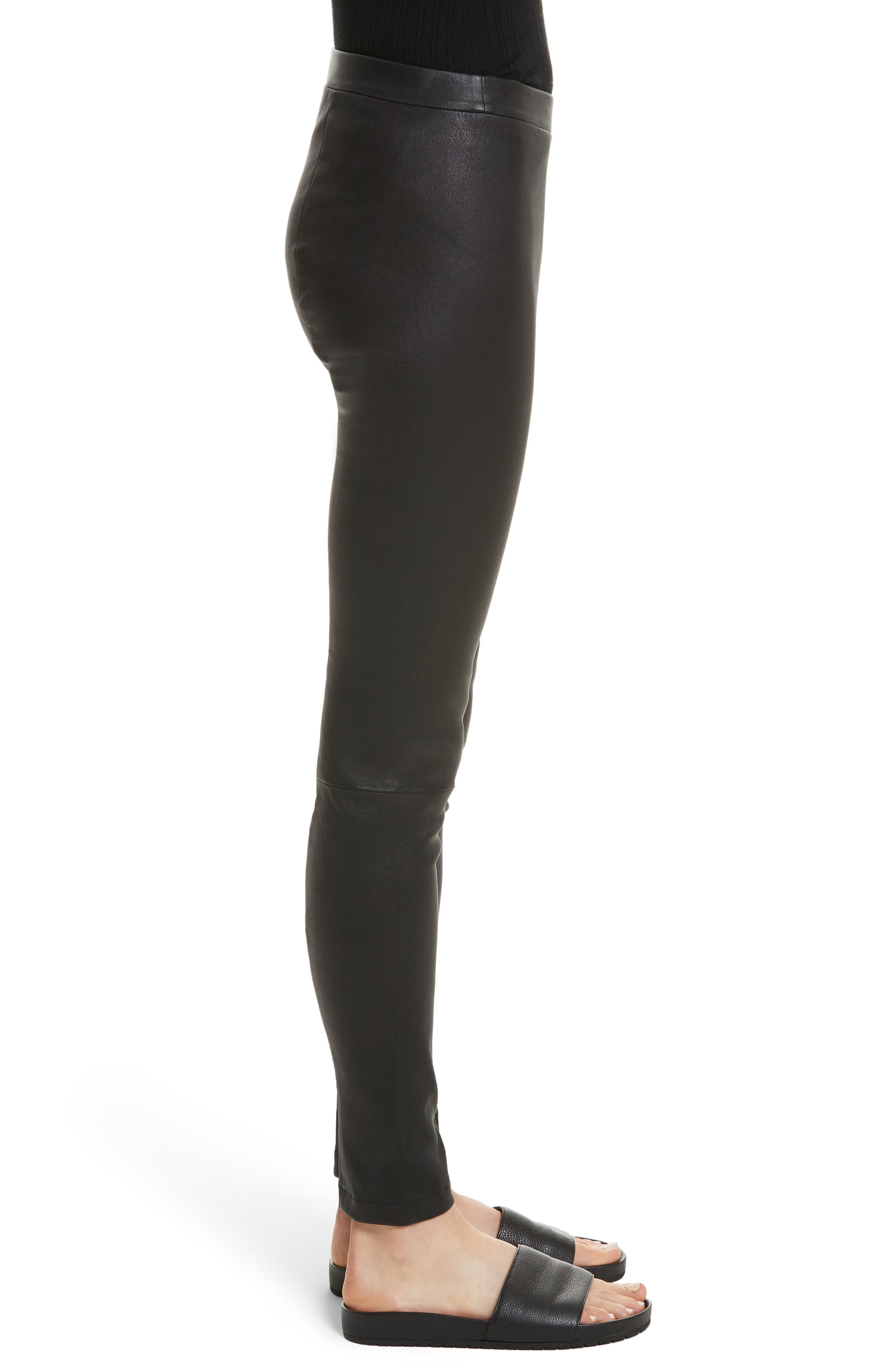 Zip Ankle Leather Leggings,                             Alternate thumbnail 3, color,
