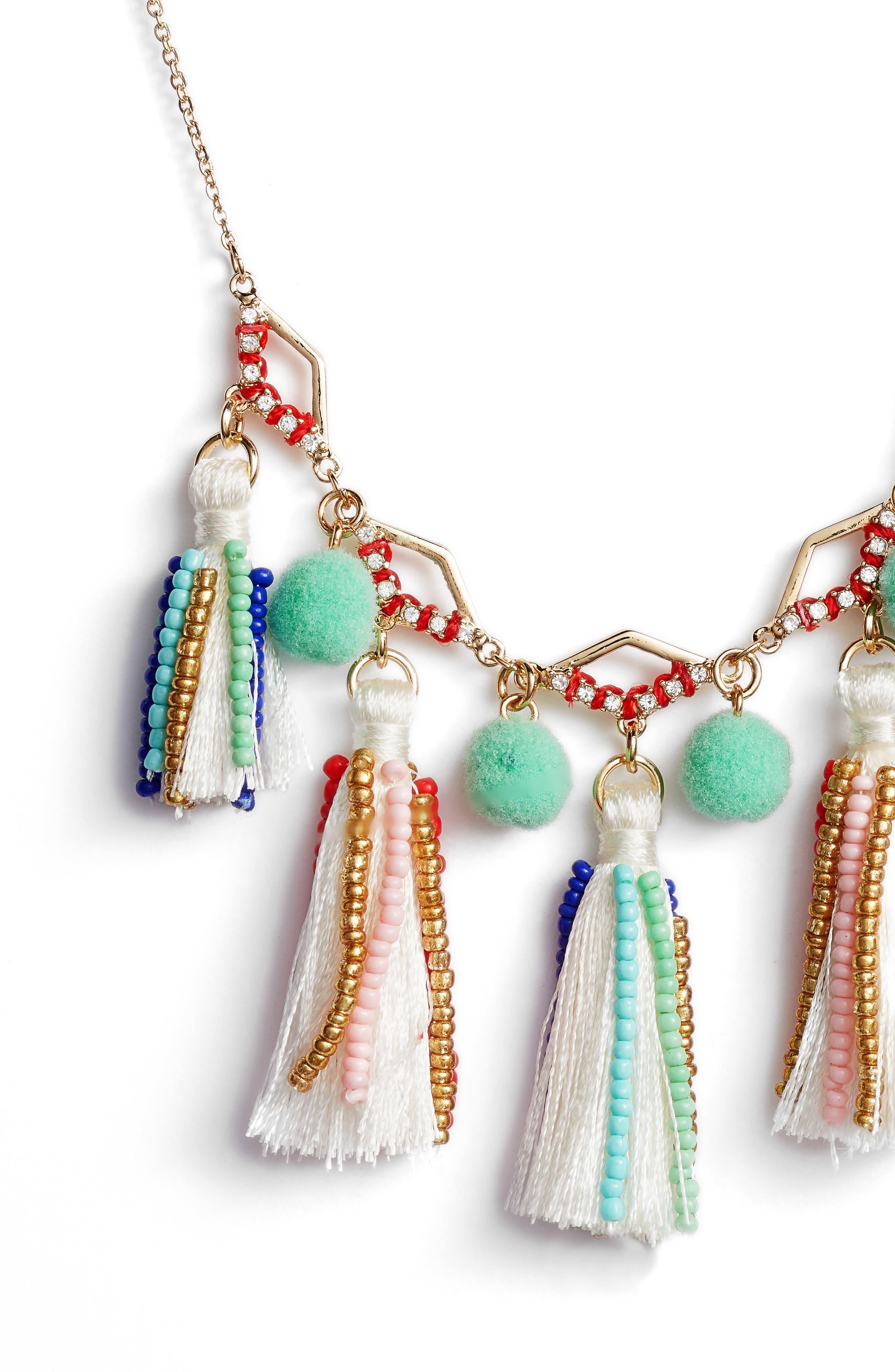 Tassel & Pompom Necklace,                             Alternate thumbnail 2, color,