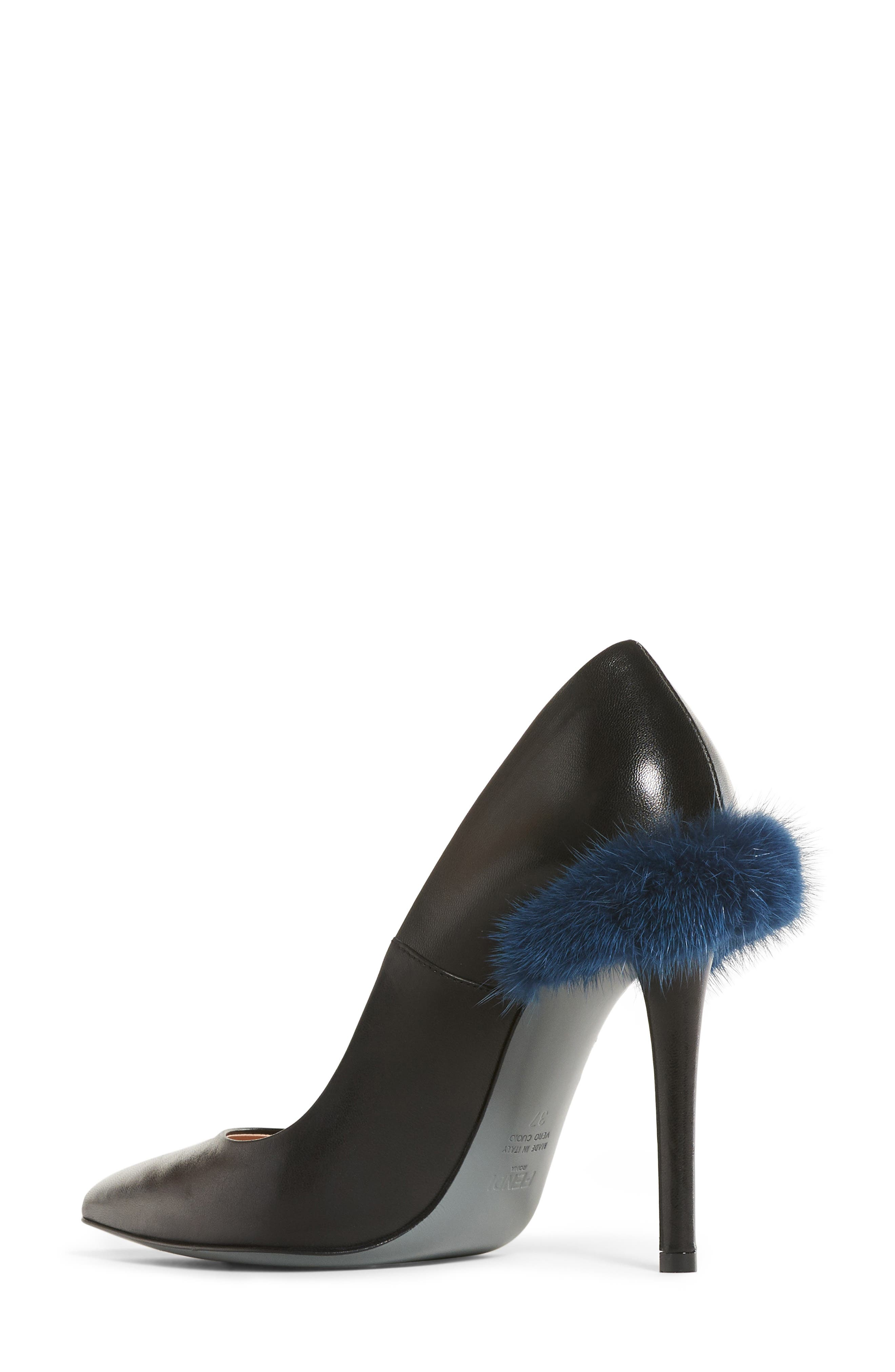 Duo Pointy Toe Pump with Genuine Mink Trim,                             Alternate thumbnail 2, color,                             009