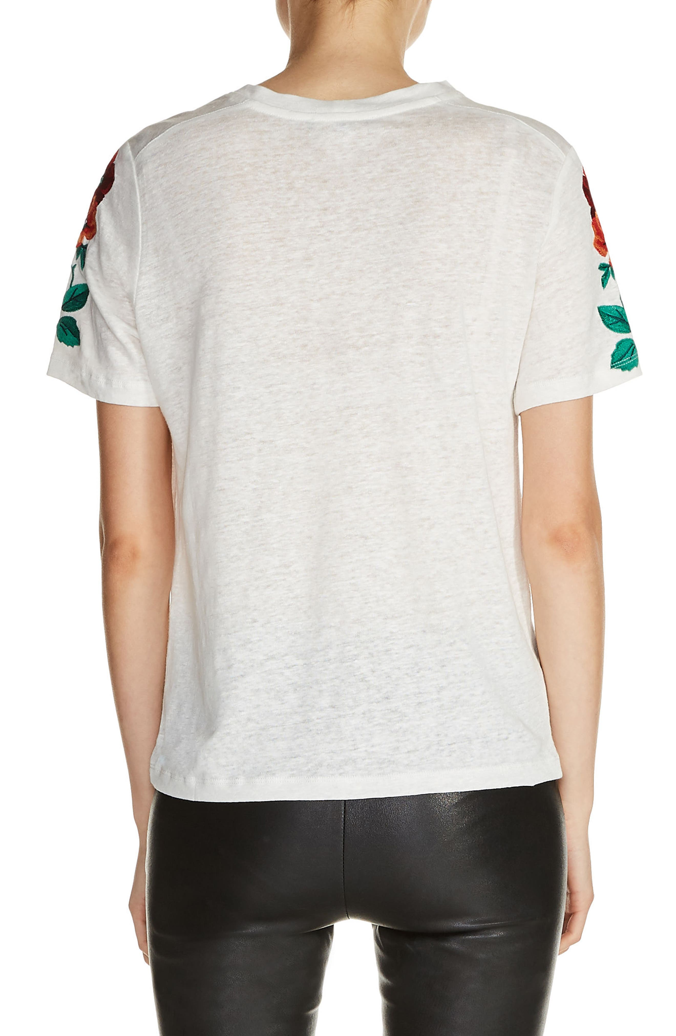 Floral Embroidered Linen Tee,                             Alternate thumbnail 2, color,                             900