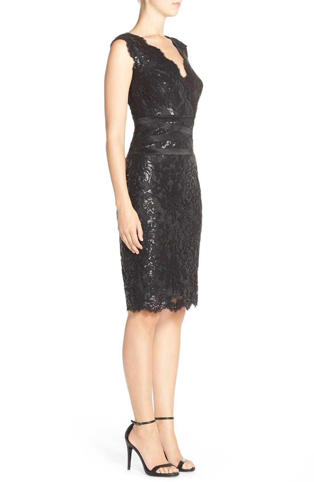 Sequin Lace Sheath Dress,                             Alternate thumbnail 6, color,                             001