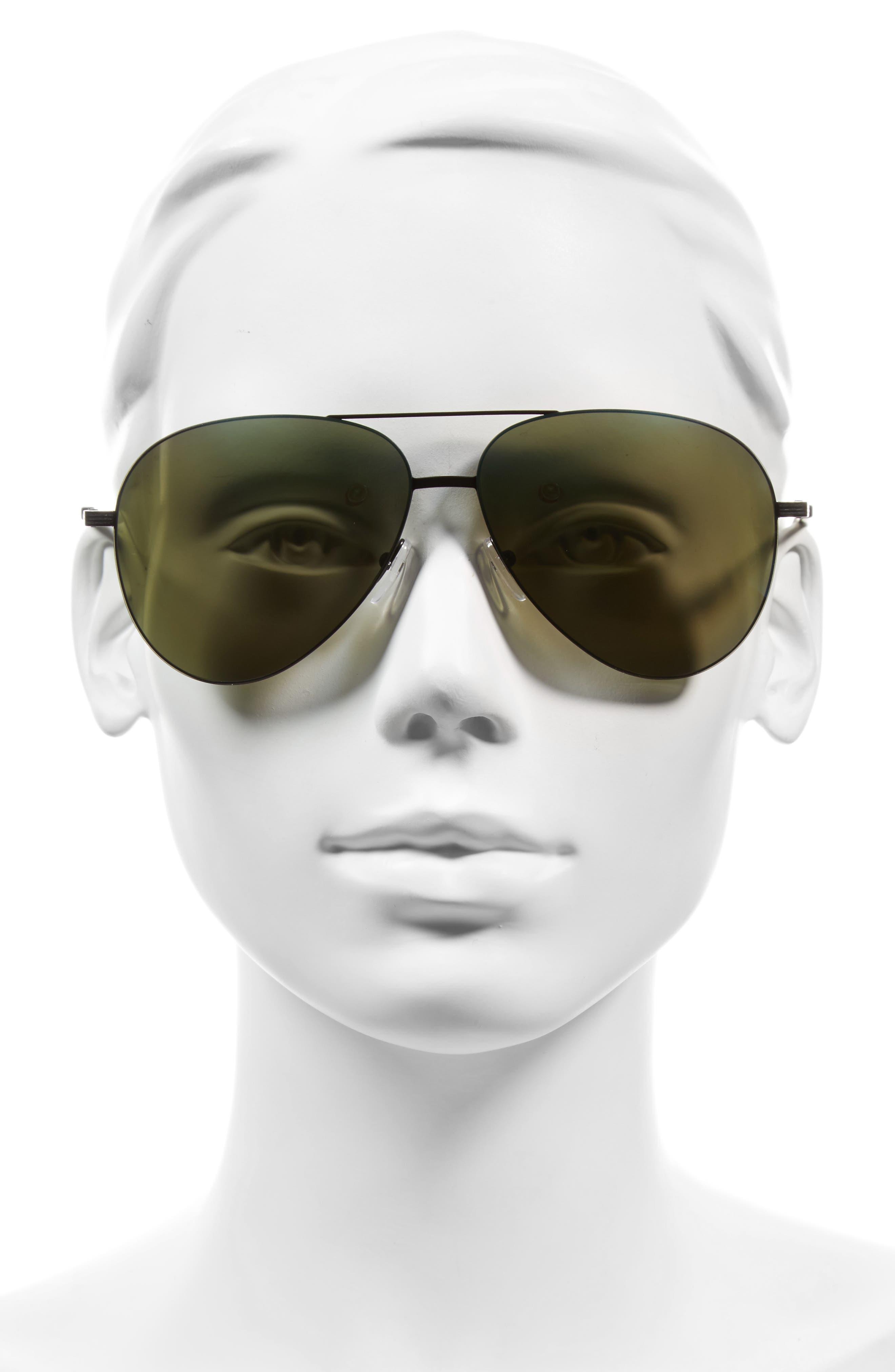 Classic Victoria Feather 62mm Aviator Sunglasses,                             Alternate thumbnail 2, color,                             BLACK/ TURQUOISE MIRROR