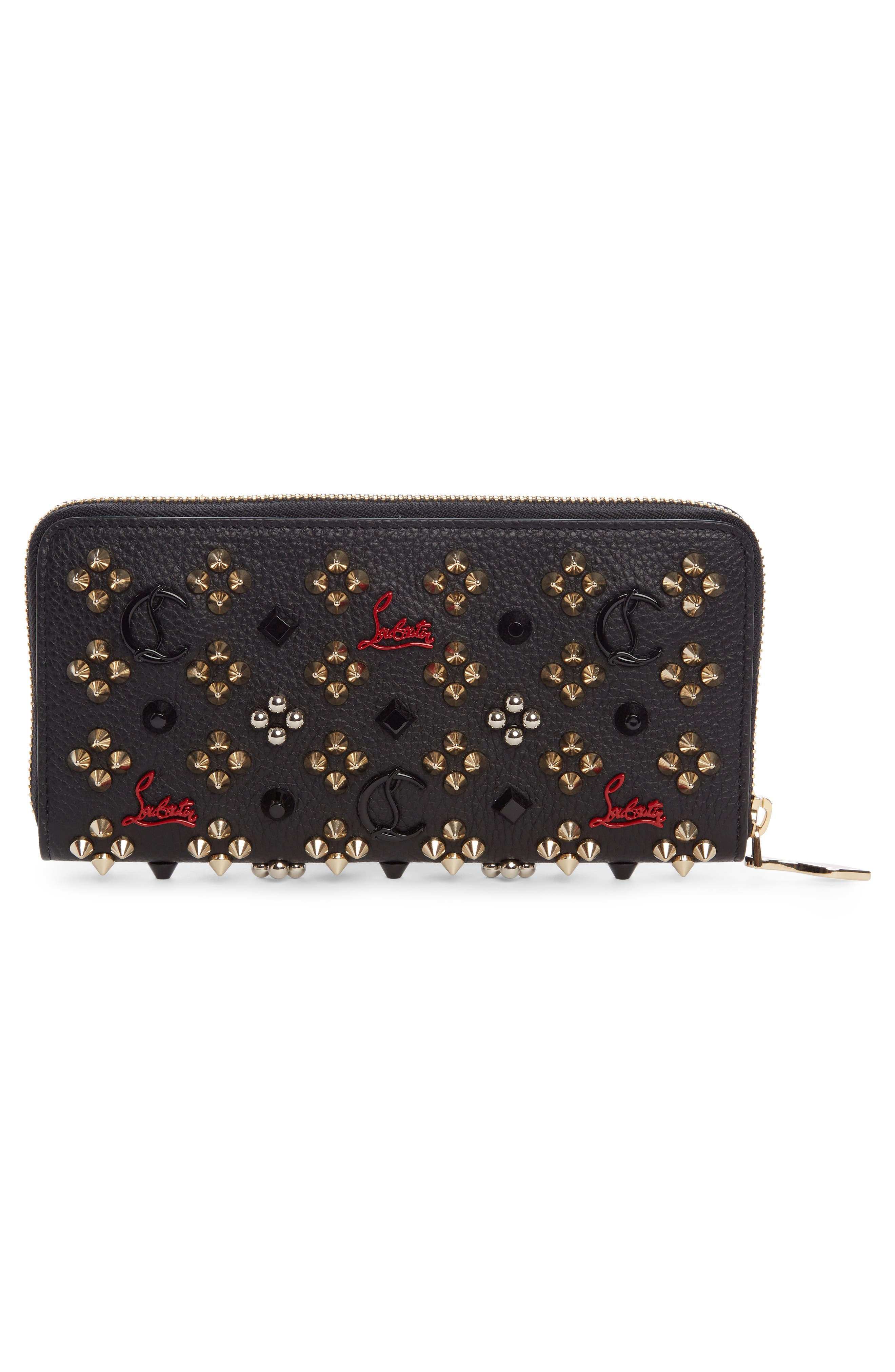 Panettone Spiked Calfskin Wallet,                             Alternate thumbnail 2, color,                             BLACK/ RED-GOLD