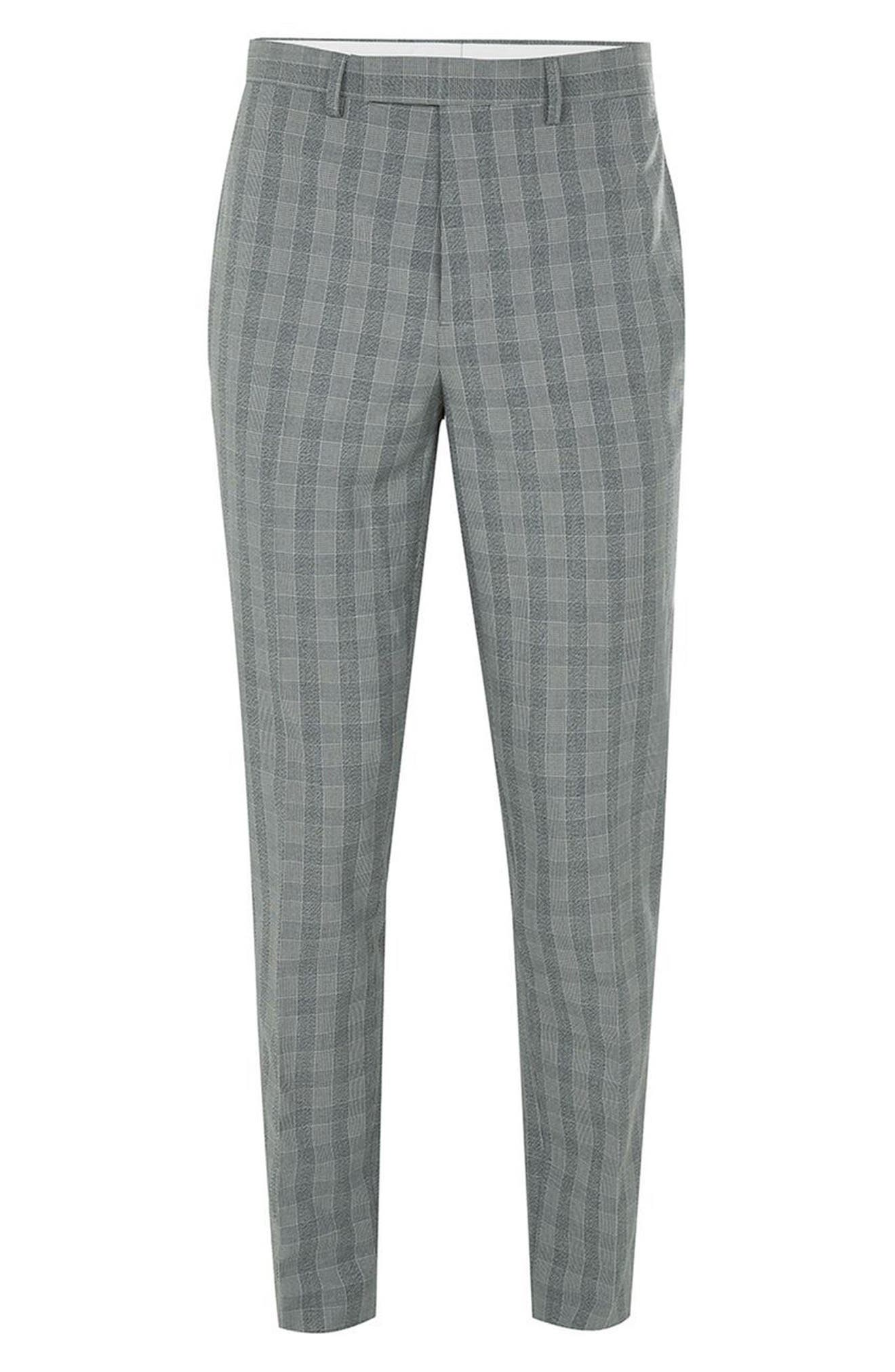 Muscle Fit Check Suit Trousers,                             Alternate thumbnail 4, color,                             020