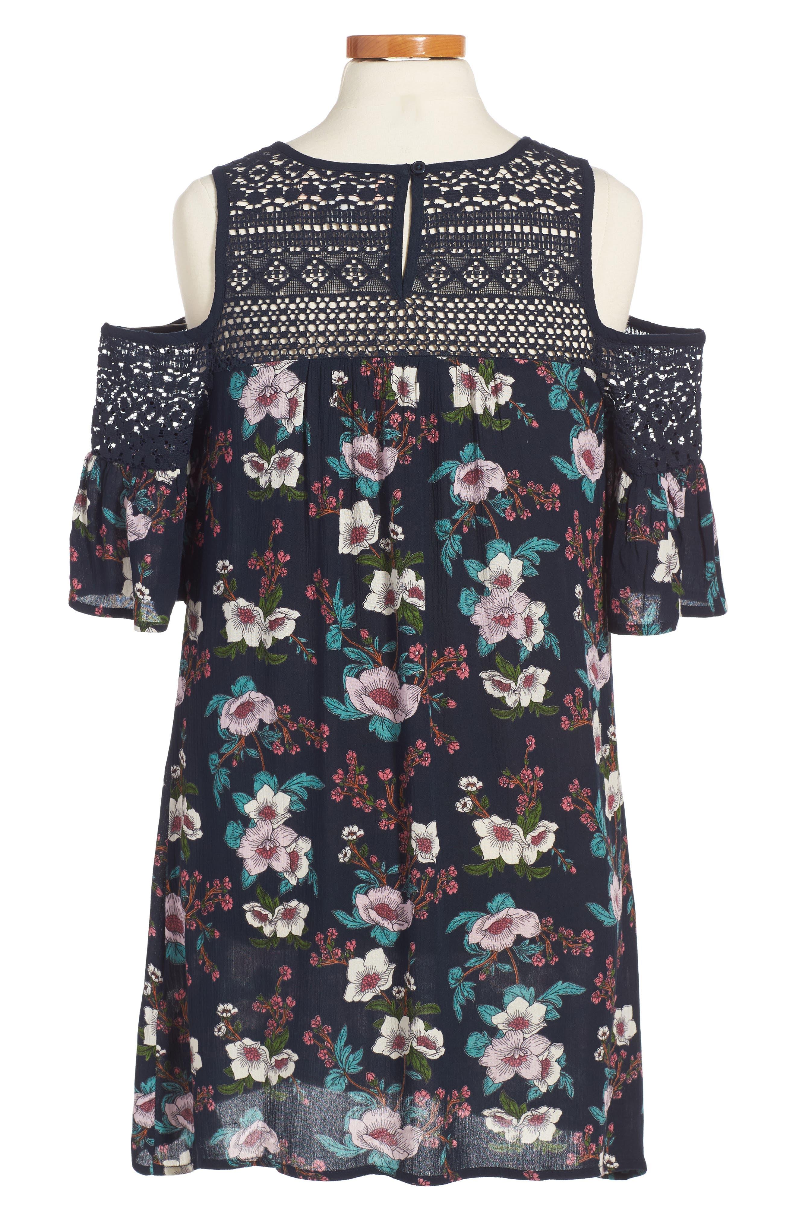 Zoe & Rose Crochet Inset Floral Dress,                             Alternate thumbnail 2, color,                             499