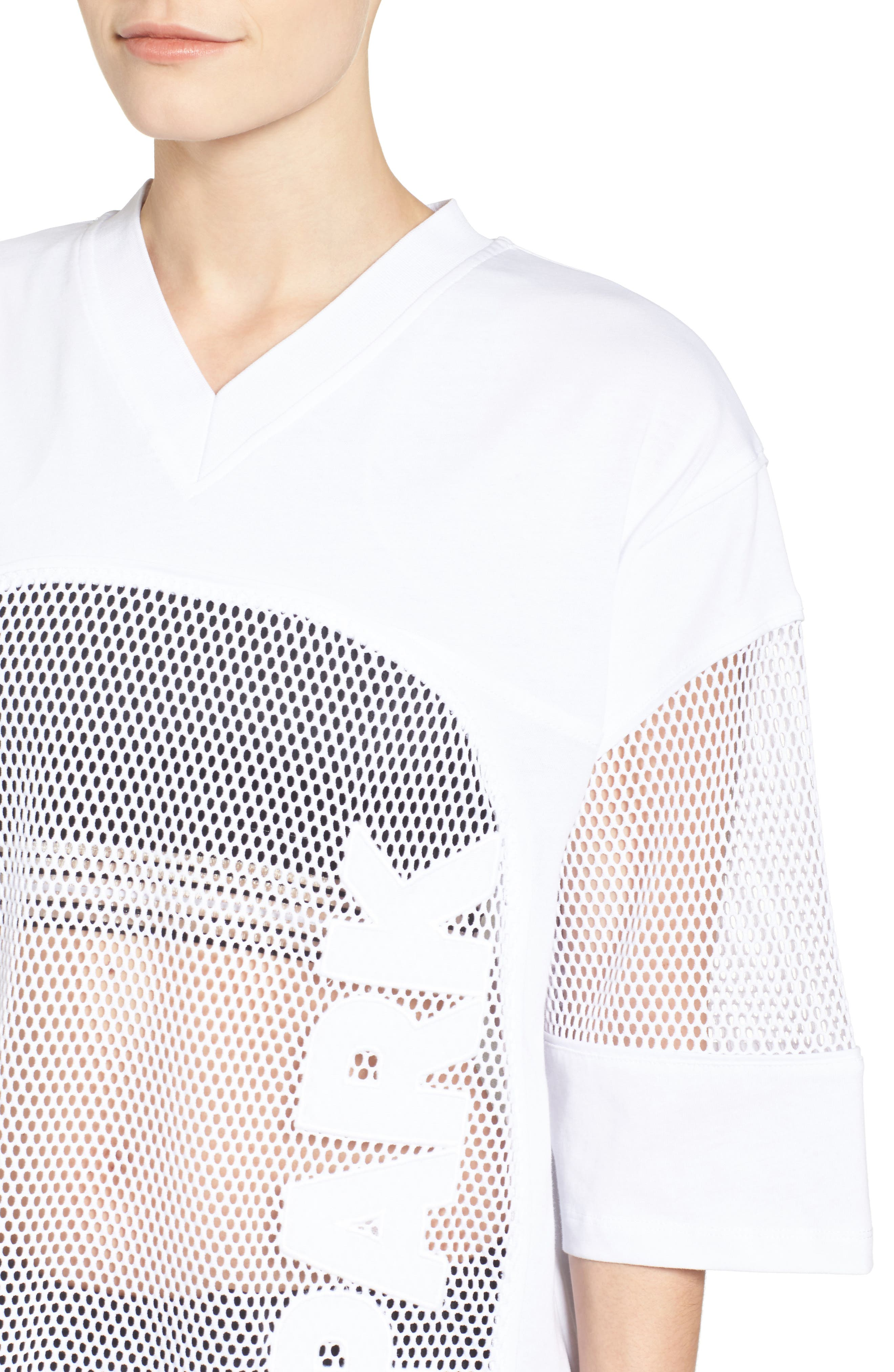 Logo Mesh Oversize Tee,                             Alternate thumbnail 4, color,                             100