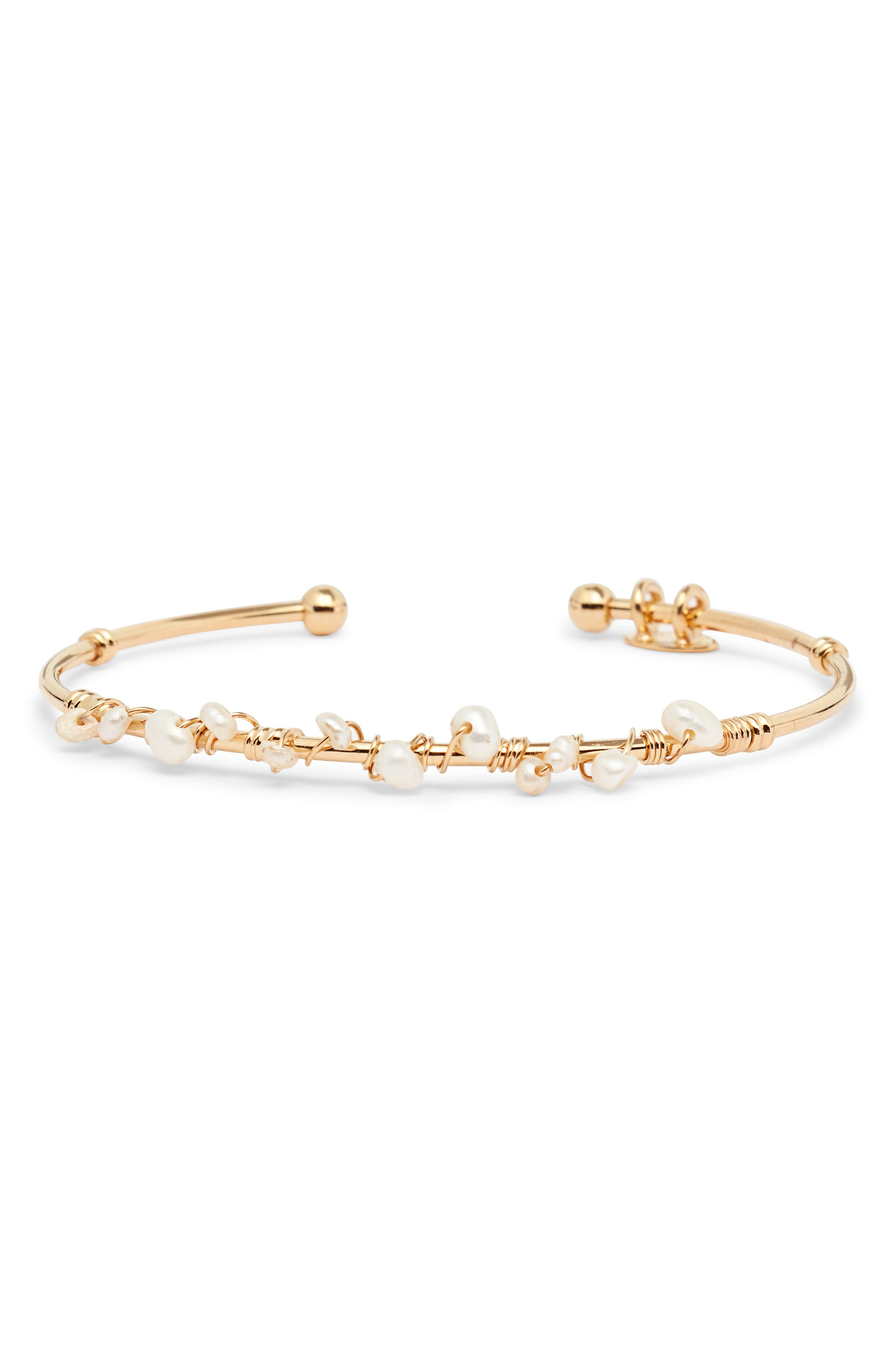 GAS BIJOUX Calliope Cuff Bracelet in White/ Gold