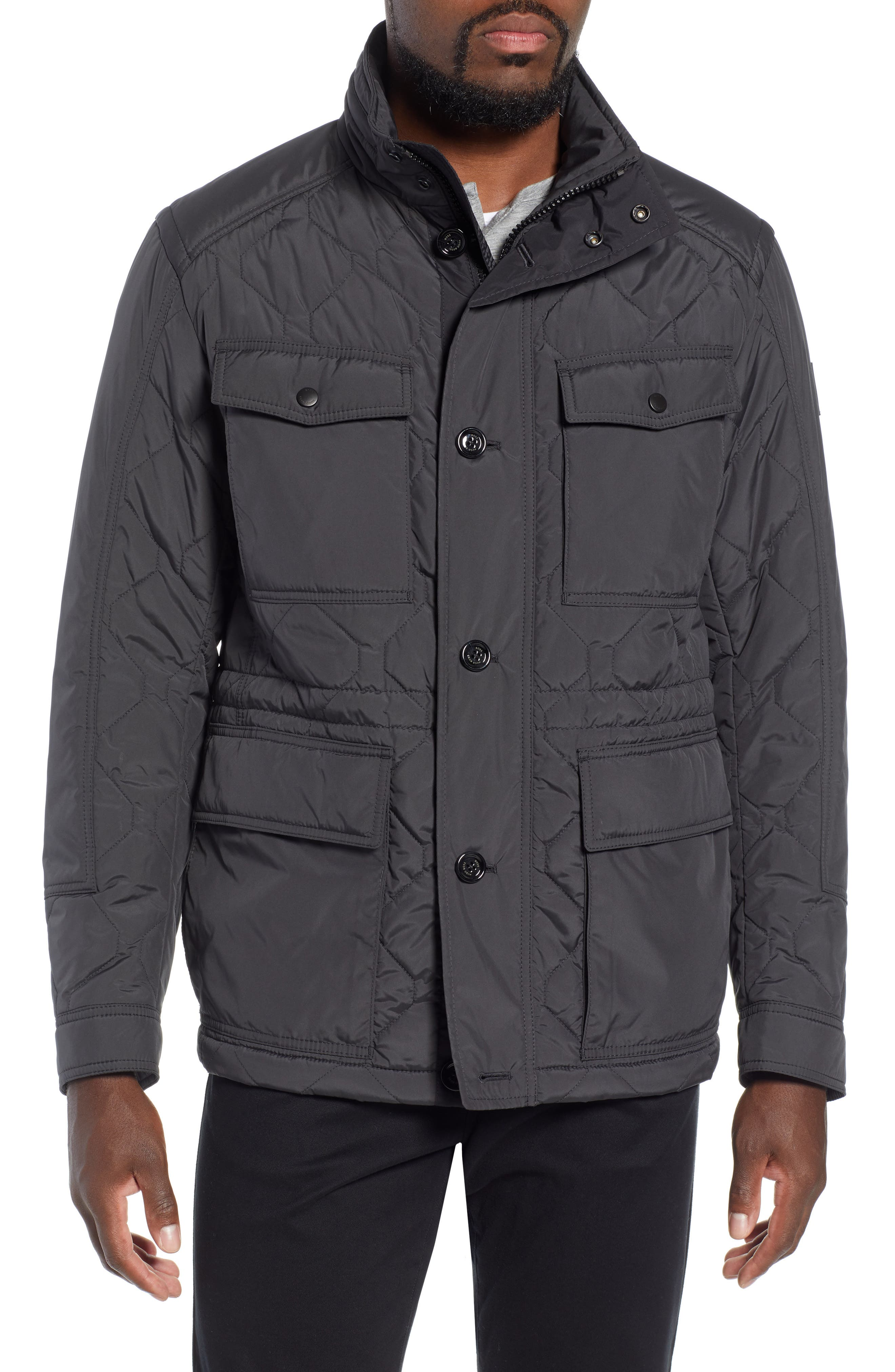 Cloud Quilted Field Jacket with Stowaway Hood,                             Alternate thumbnail 4, color,                             GREY