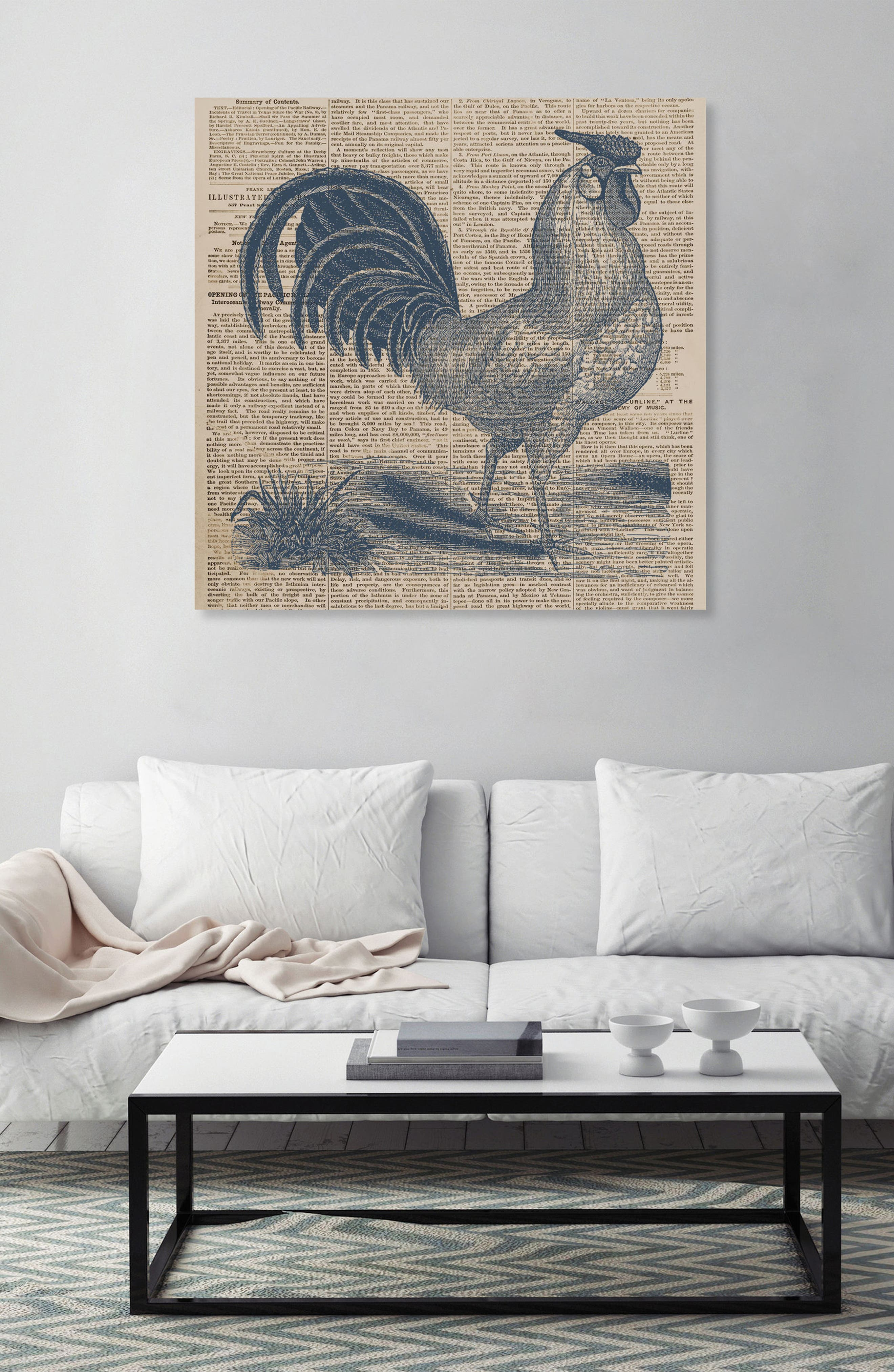 Rooster Newspaper Canvas Wall Art,                             Alternate thumbnail 2, color,
