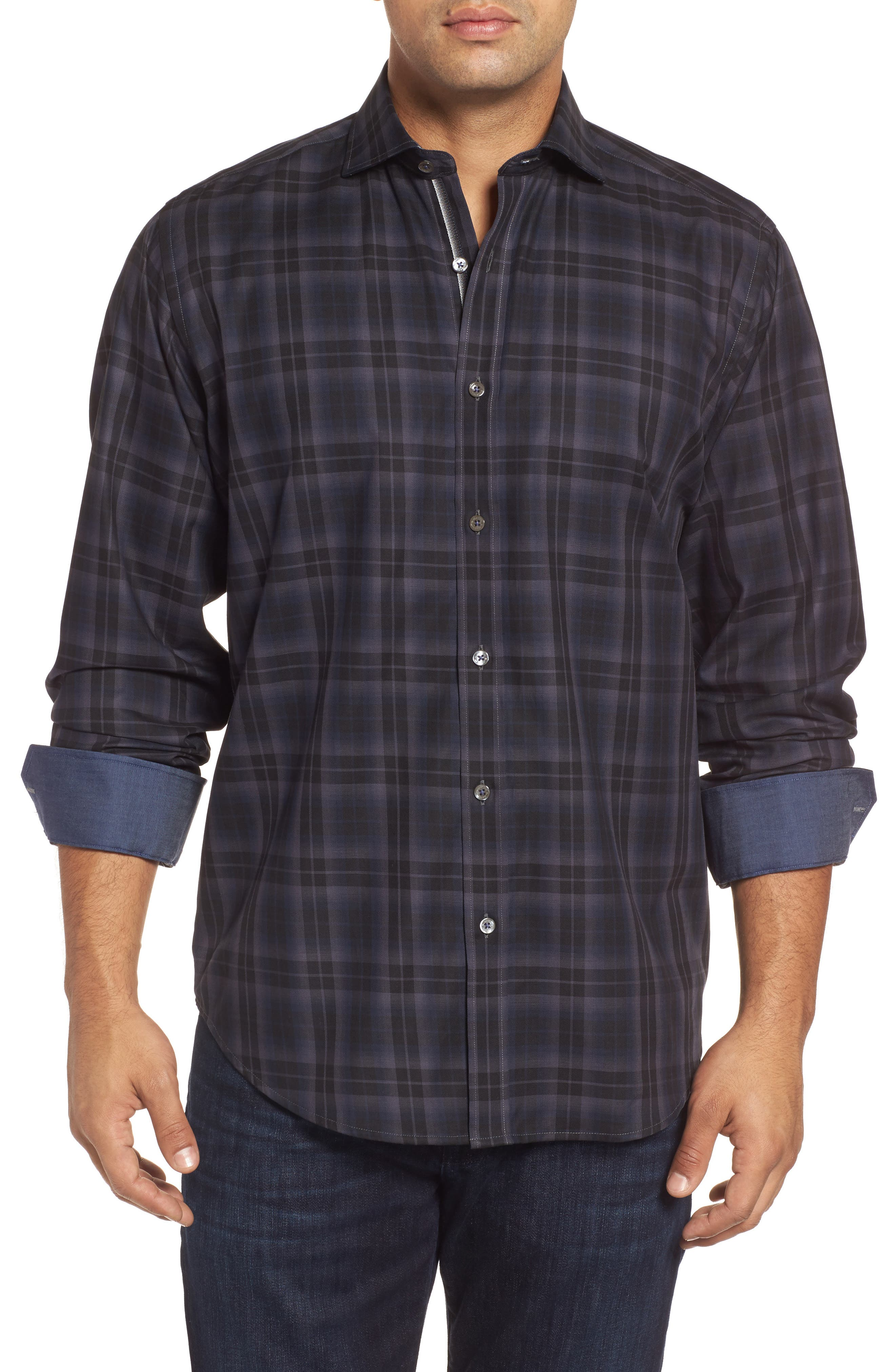 Classic Fit Large Check Twill Sport Shirt,                             Main thumbnail 1, color,                             020