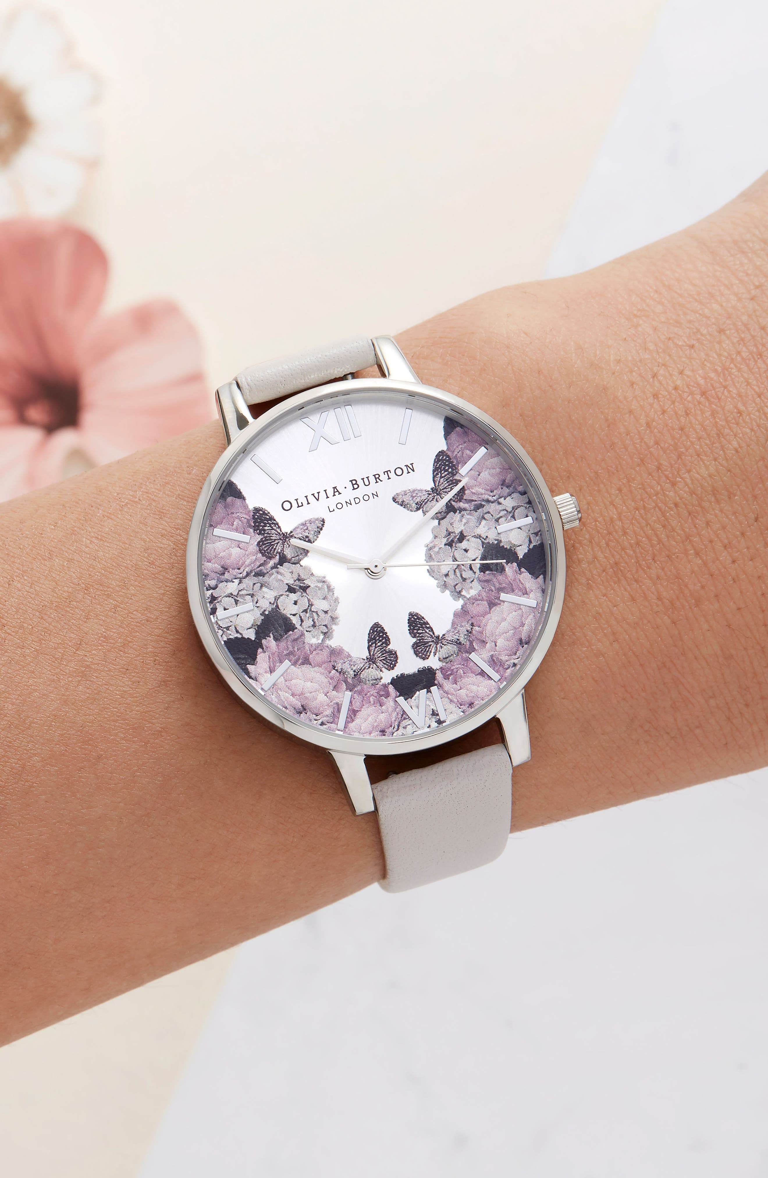 Signature Floral Leather Strap Watch, 38mm,                             Alternate thumbnail 6, color,                             BLUSH/ BLACK/ SILVER