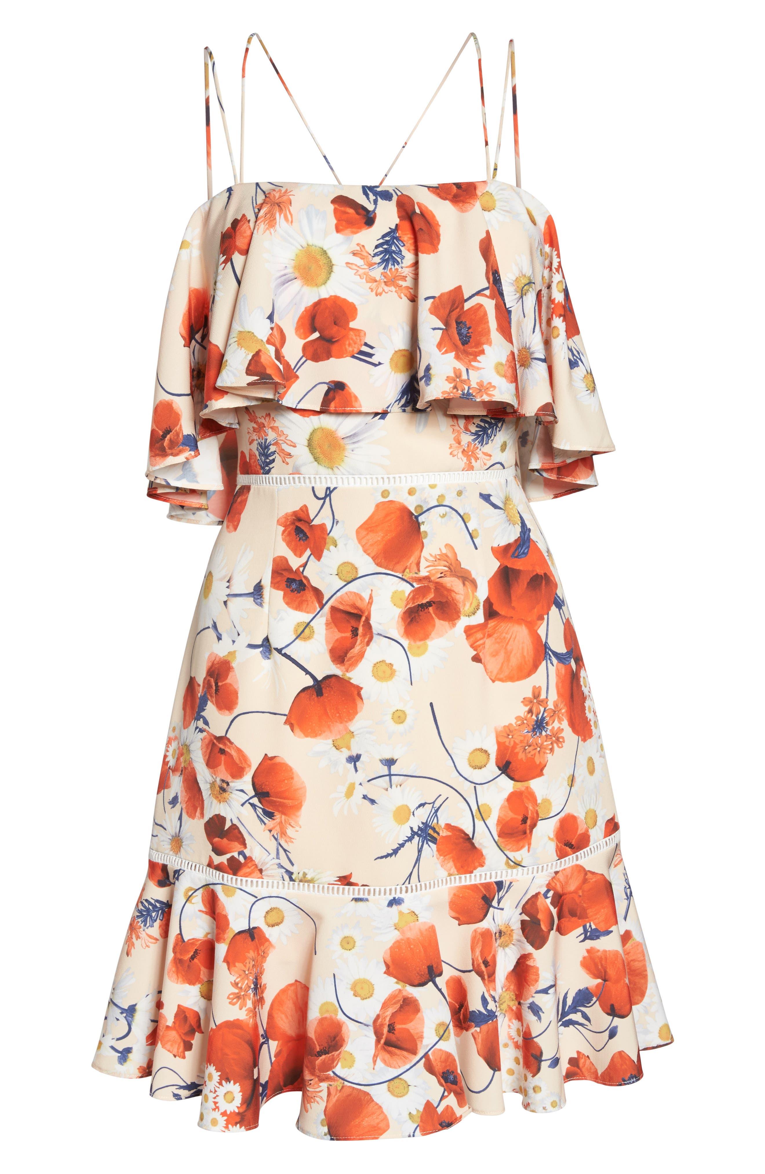 Lola Printed Poplin Dress,                             Alternate thumbnail 6, color,                             CORAL FLORAL
