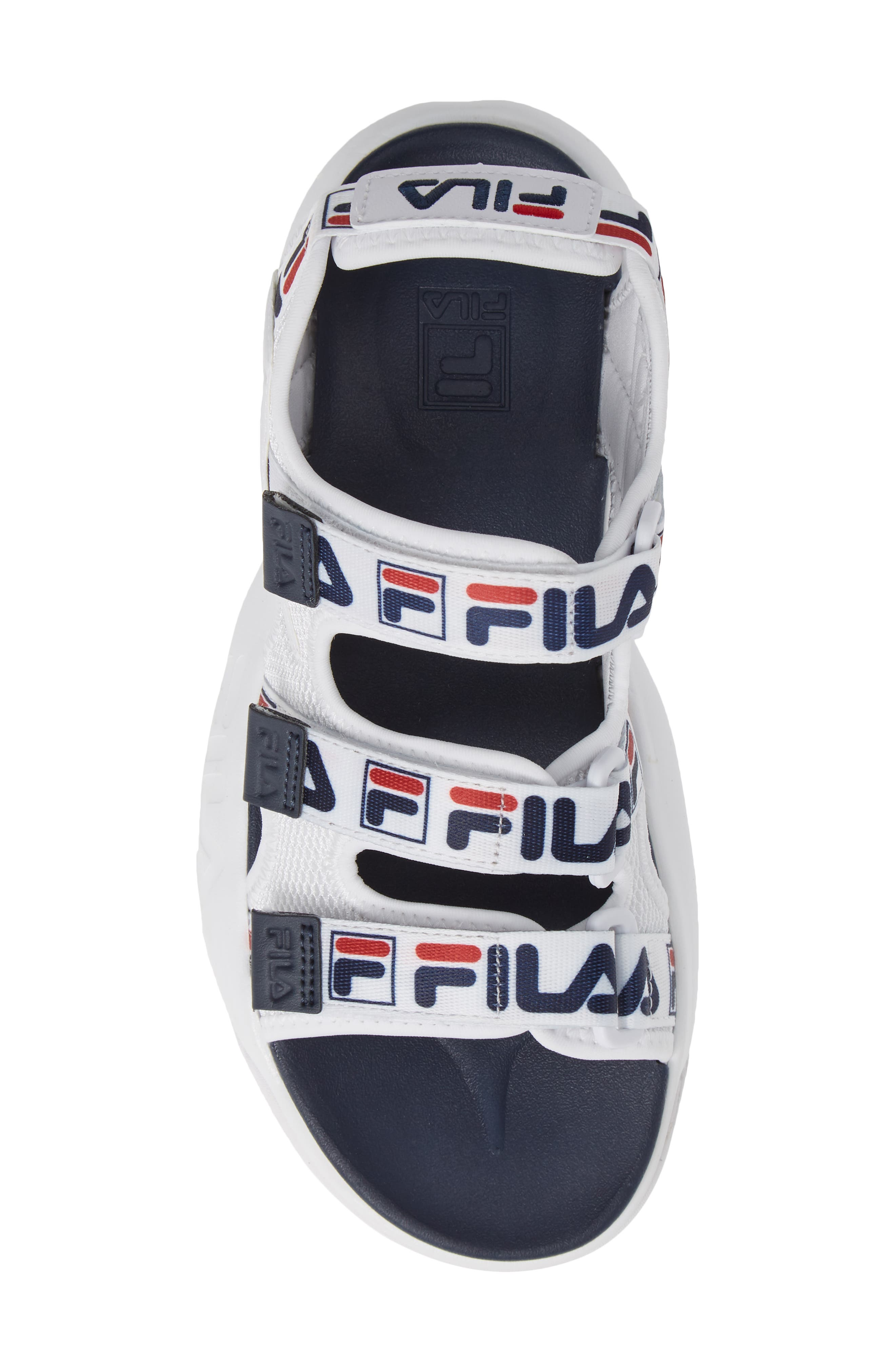 Disruptor Sandal,                             Alternate thumbnail 5, color,                             WHITE/ FILA NAVY