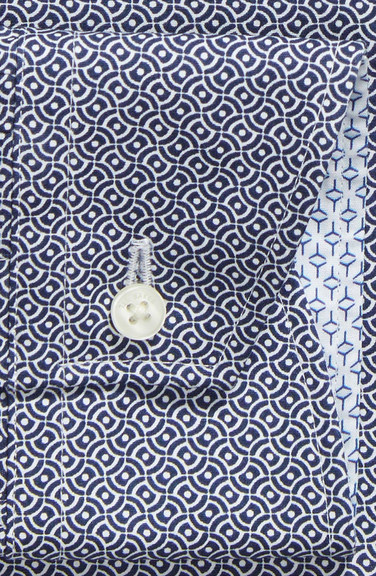 Footz Slim Fit Geometric Dress Shirt,                             Alternate thumbnail 6, color,                             NAVY