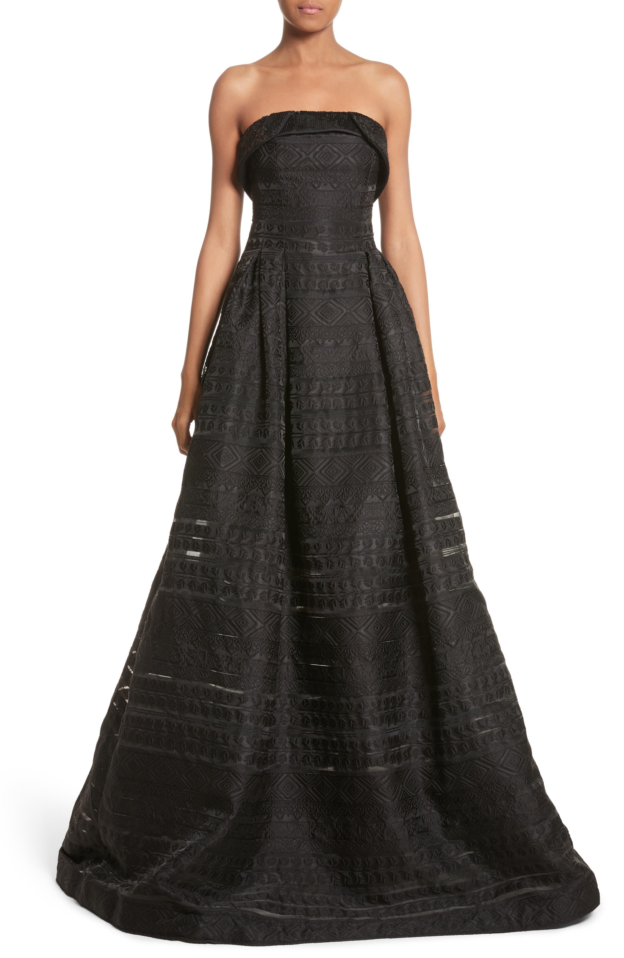 Noir Istiklal Embellished Strapless Ballgown,                         Main,                         color, 001