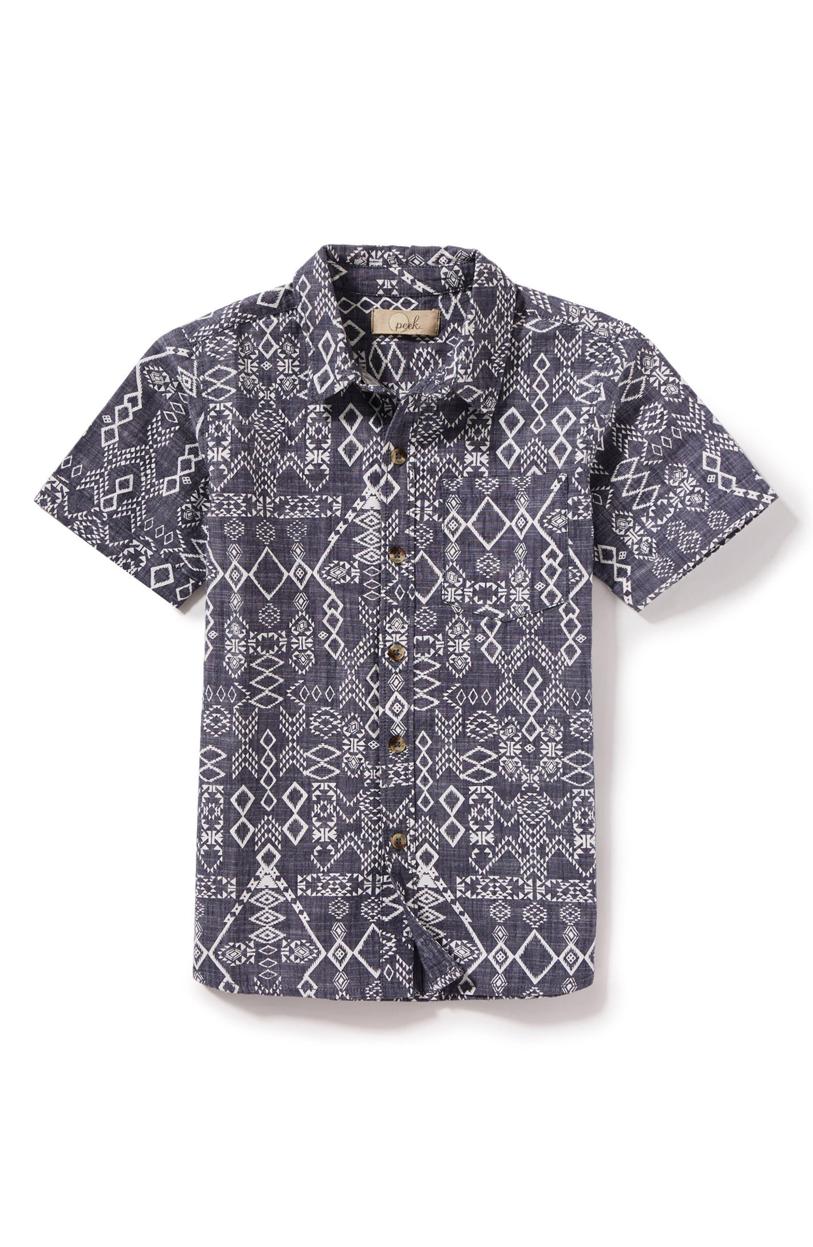 Geometric Print Woven Shirt,                             Main thumbnail 1, color,                             400