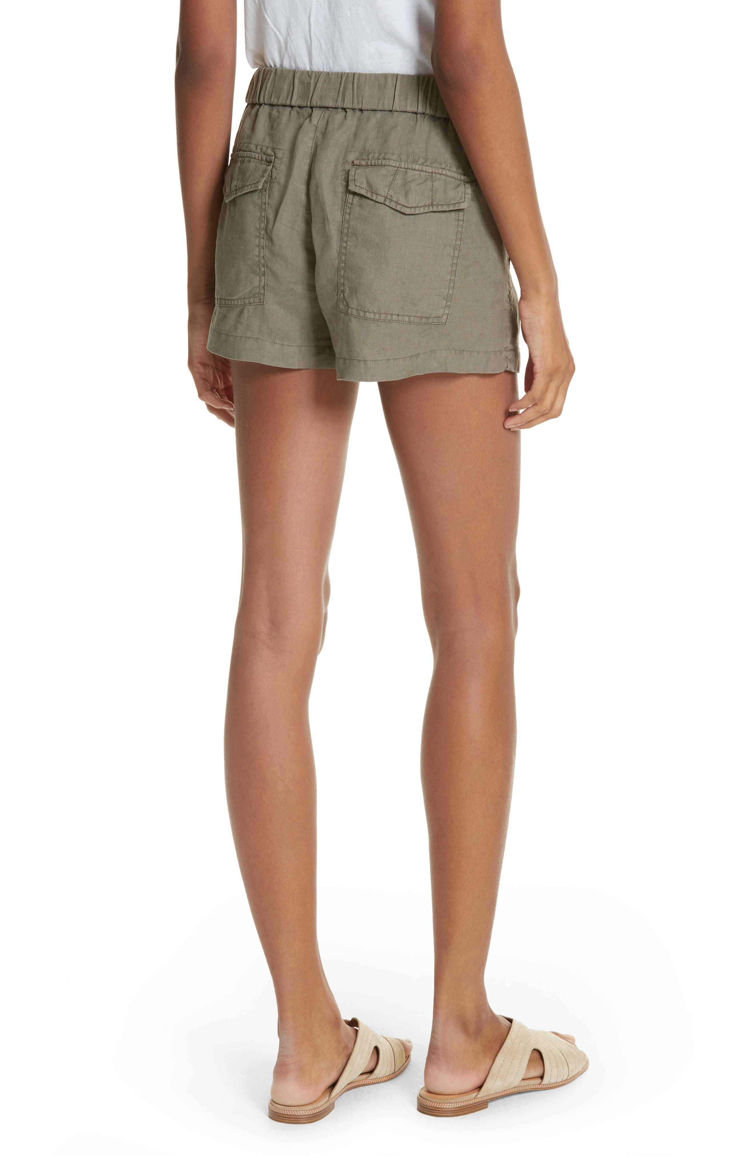 Fosette Linen Drawstring Shorts,                             Alternate thumbnail 3, color,