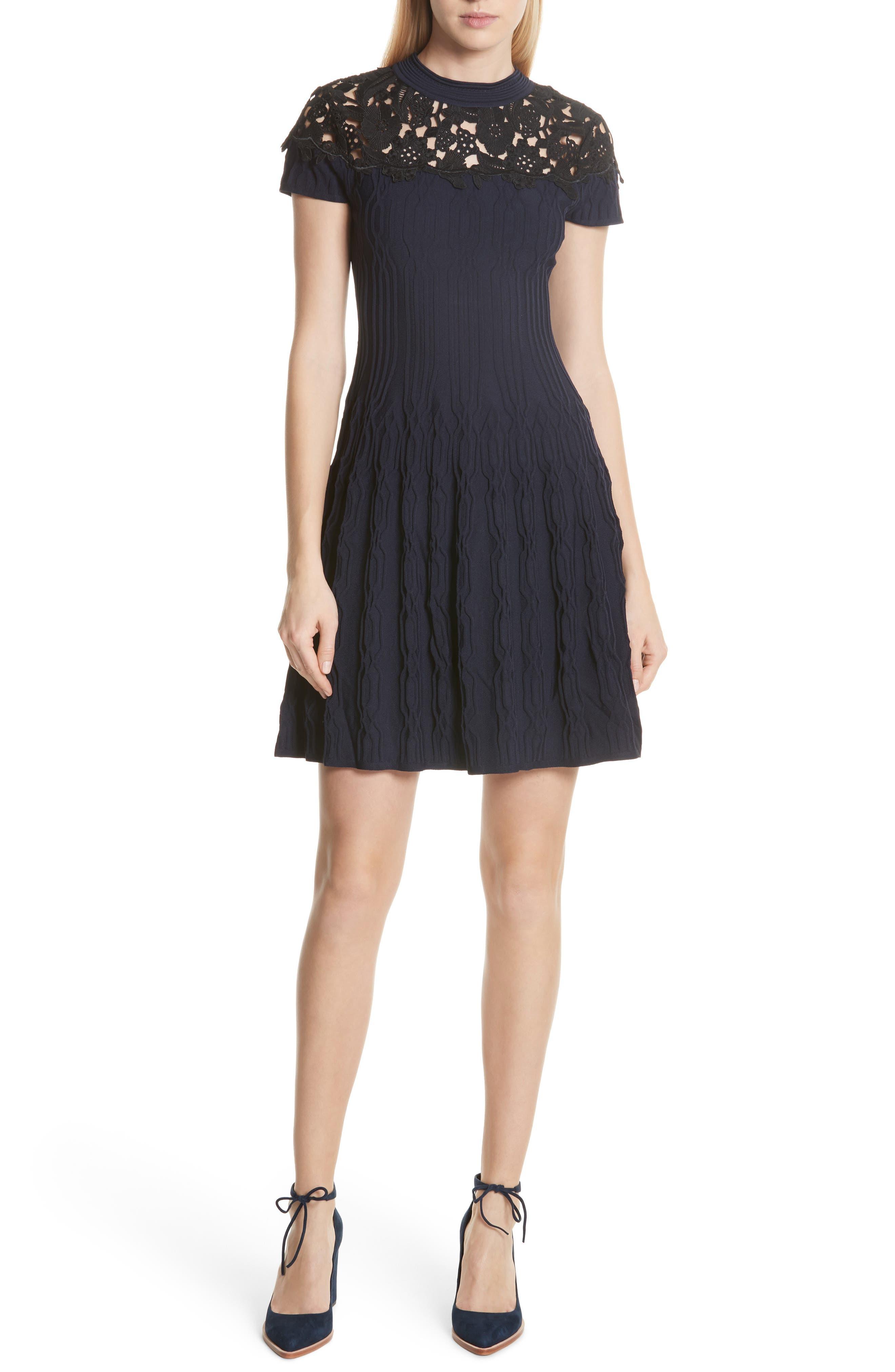 Lace Yoke Dress,                             Main thumbnail 1, color,                             400