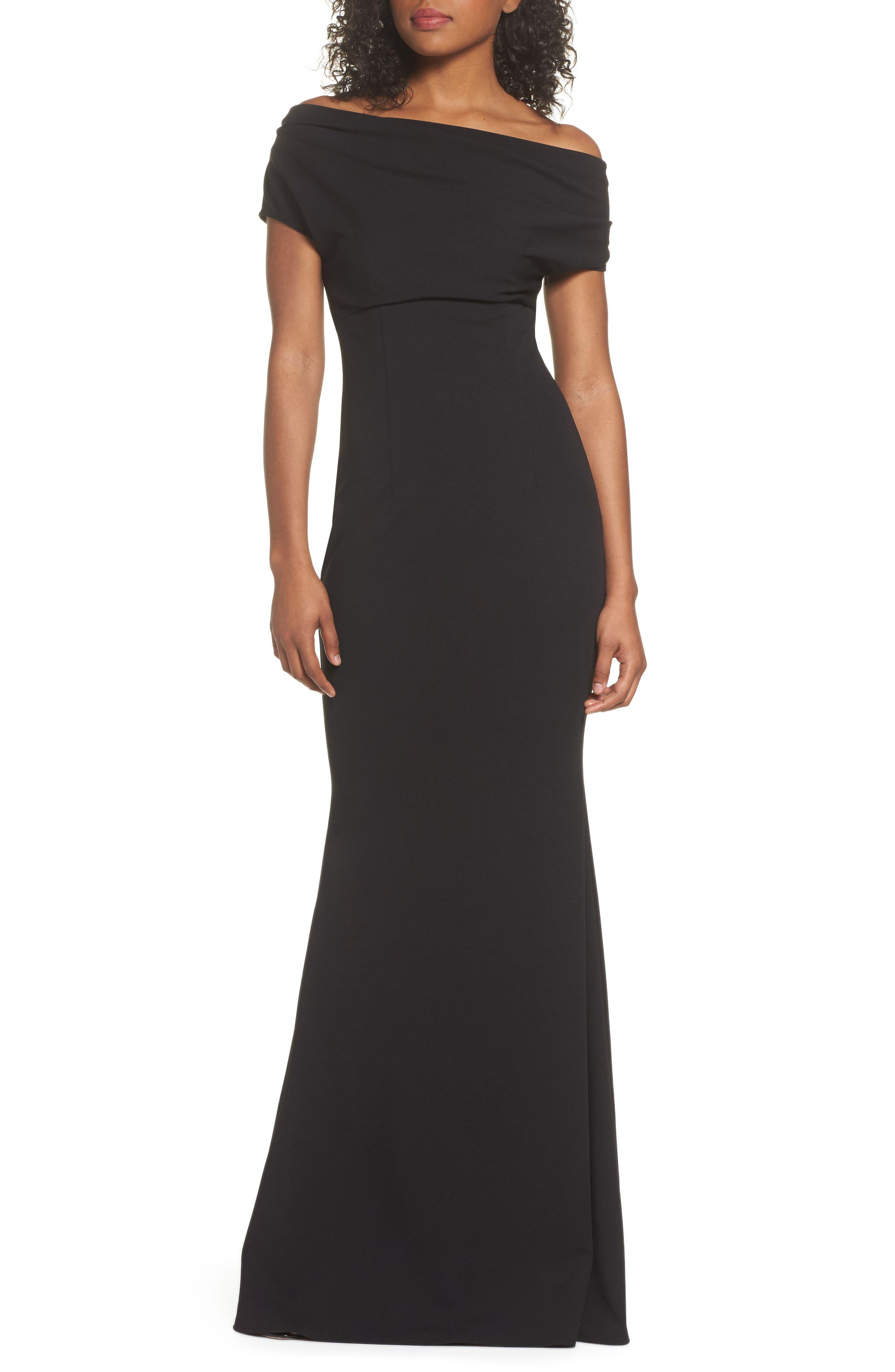 Hannah One-Shoulder Crepe Trumpet Gown,                             Main thumbnail 1, color,                             BLACK