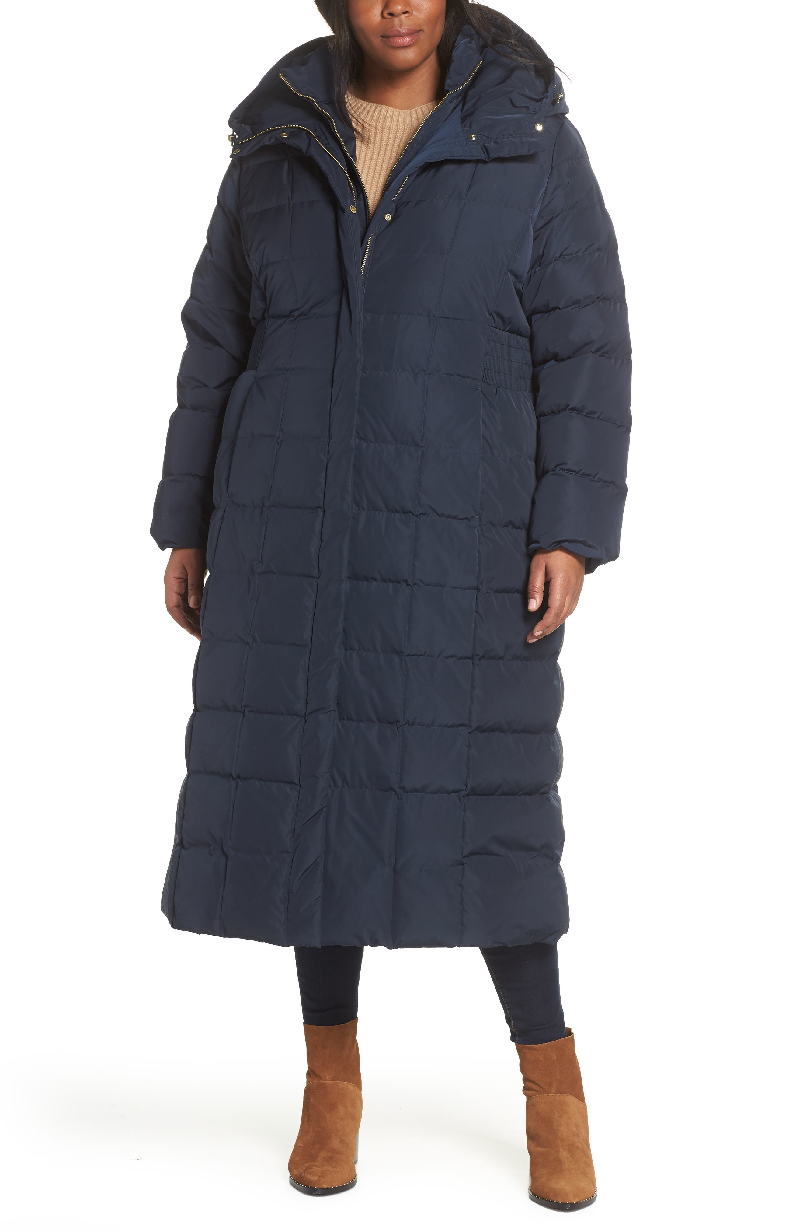 Plus Size Cole Haan Signature Quilted Coat With Inner Bib