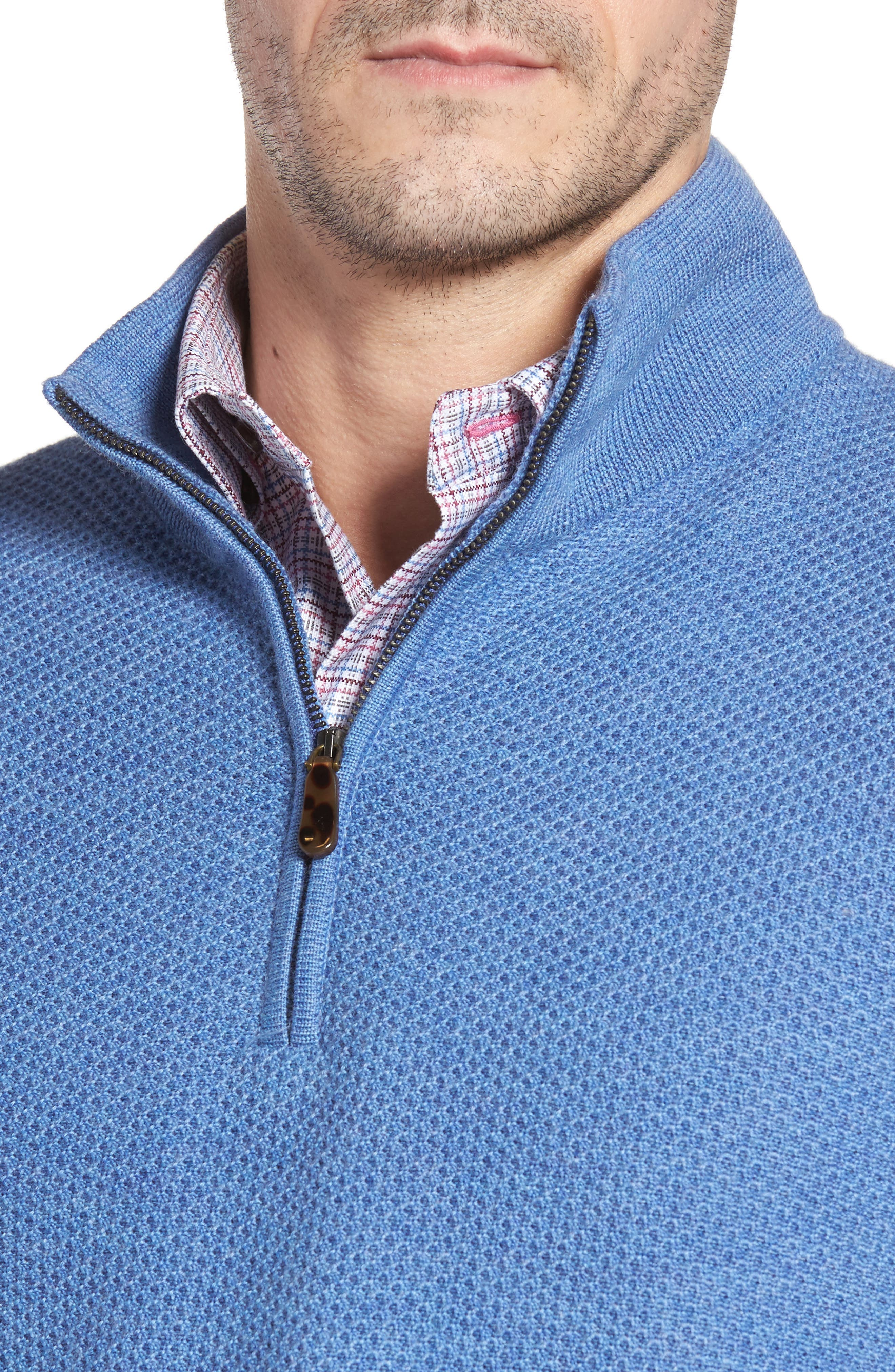 Honeycomb Merino Wool Quarter Zip Pullover,                             Alternate thumbnail 11, color,