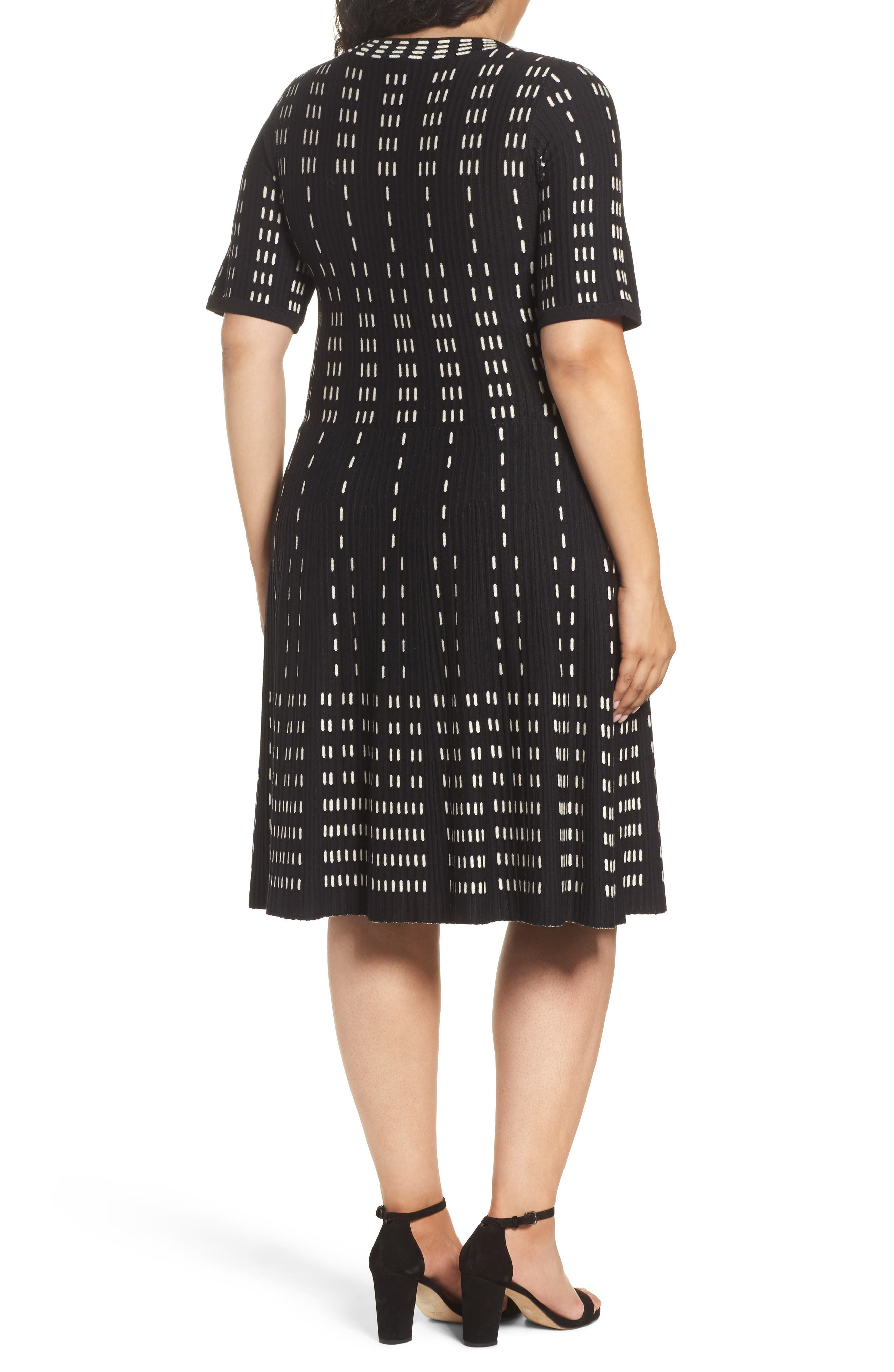 Fit & Flare Sweater Dress,                             Alternate thumbnail 2, color,                             001