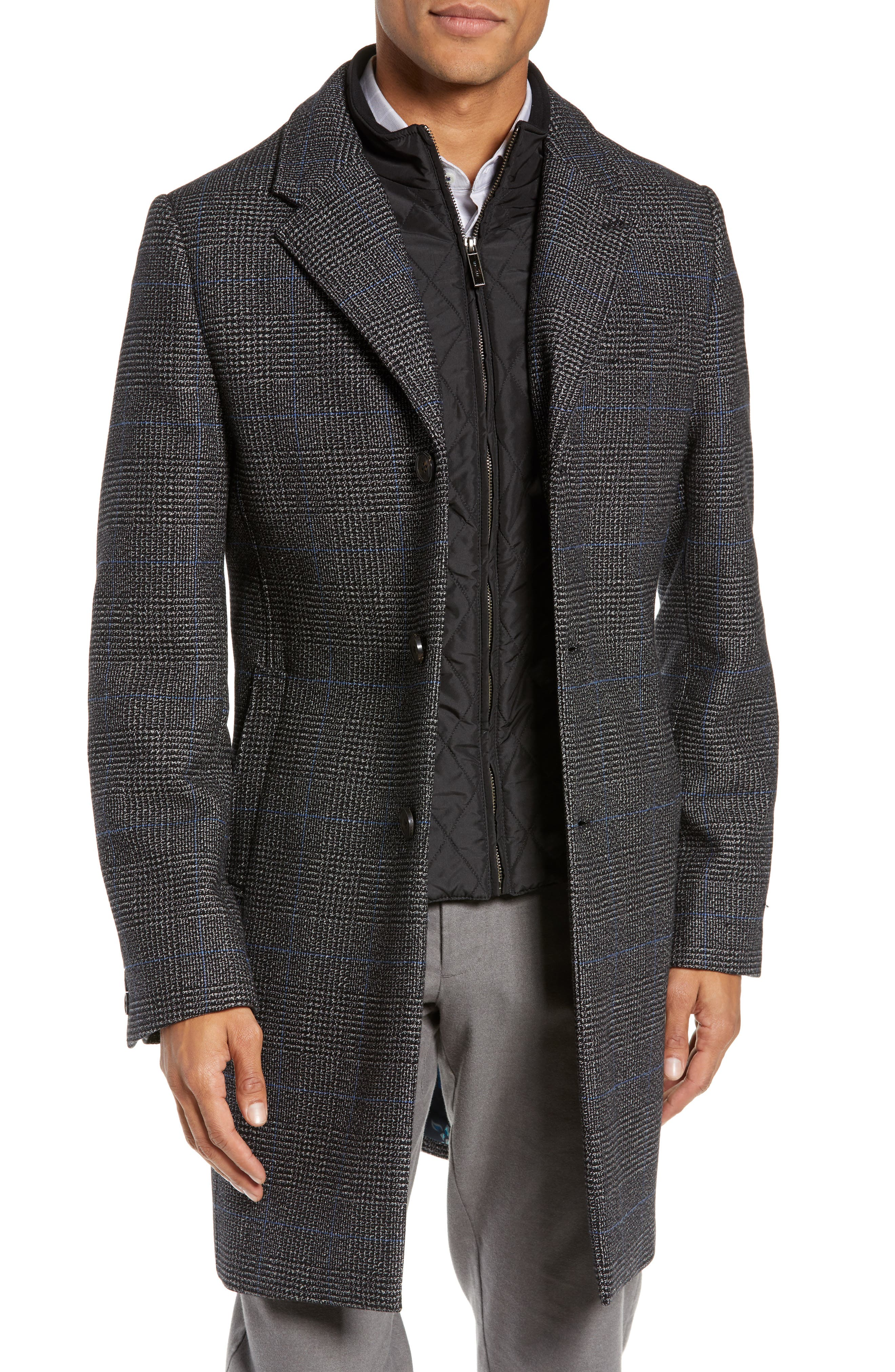 Plaid Stretch Wool & Cotton Overcoat,                             Main thumbnail 1, color,                             CHARCOAL