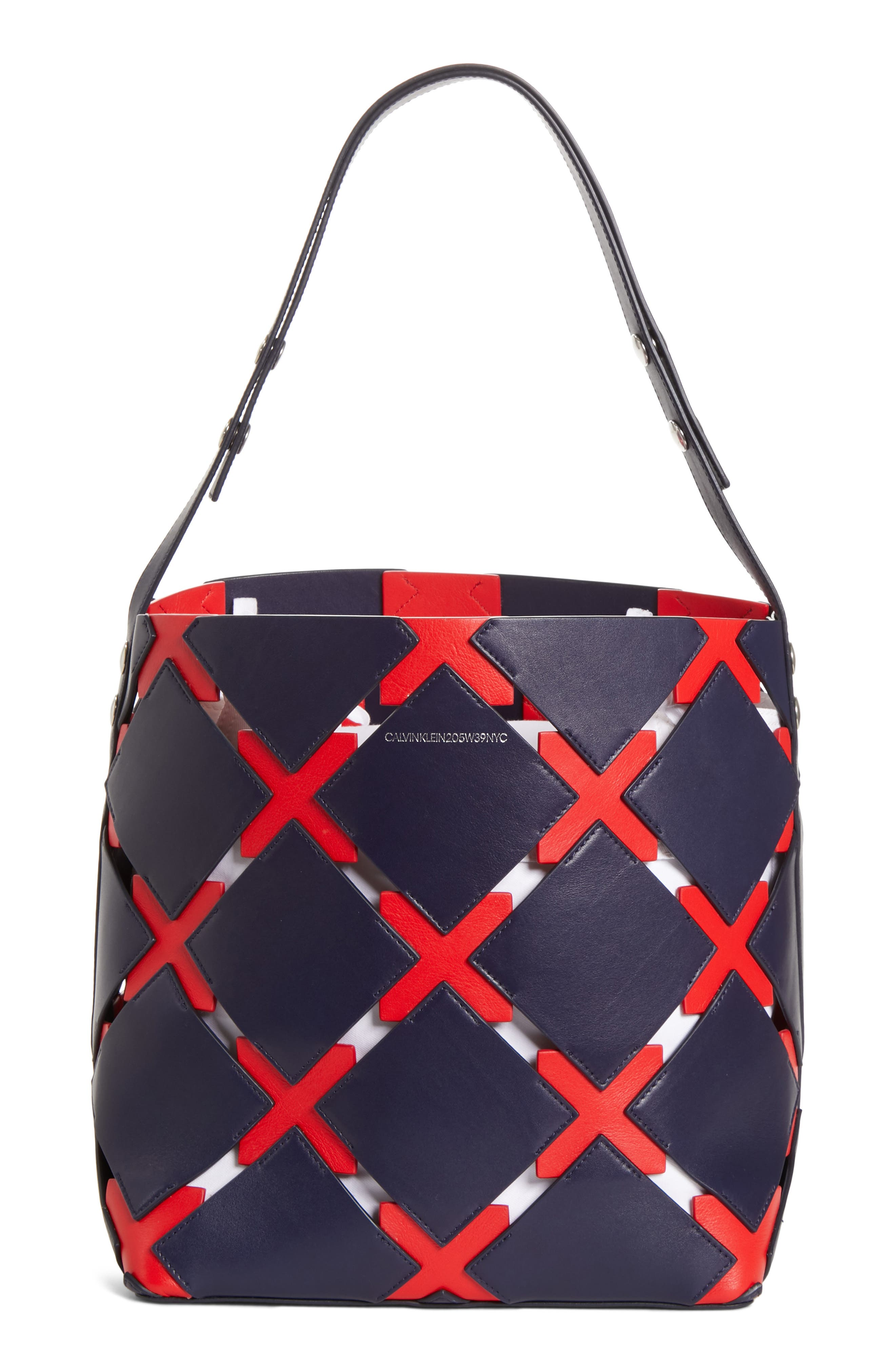 Patchwork Quilt Leather Bucket Bag, Main, color, NAVY/ RED