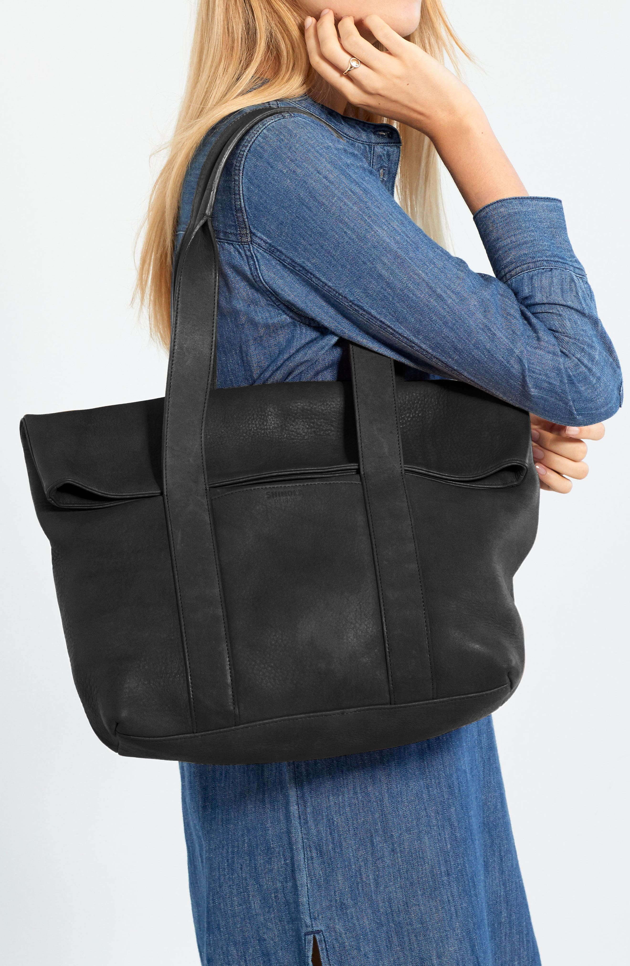 Cass Dearborn Leather Tote,                             Alternate thumbnail 2, color,                             BLACK