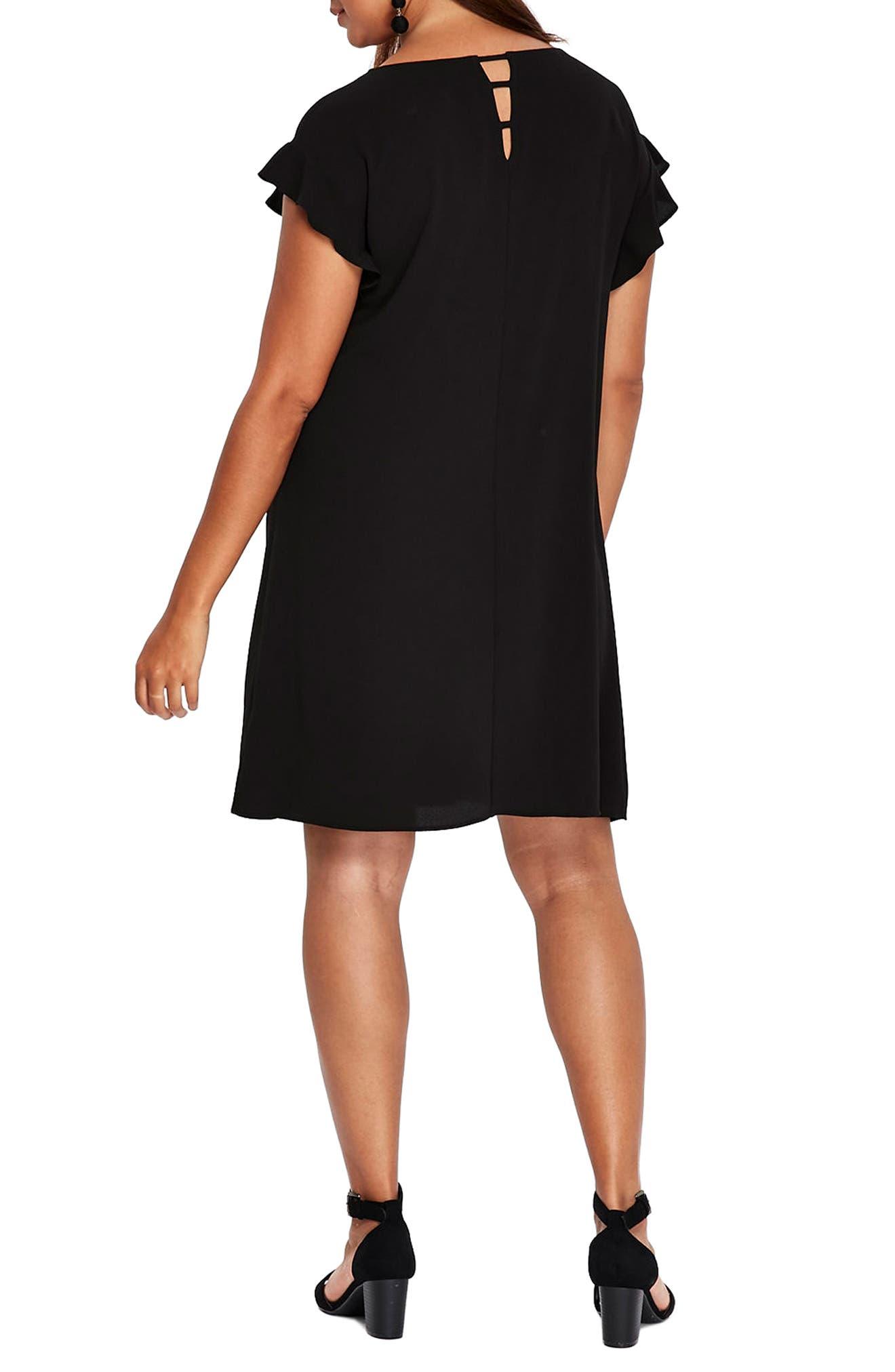 Ruffle Sleeve Shift Dress,                             Alternate thumbnail 2, color,                             001