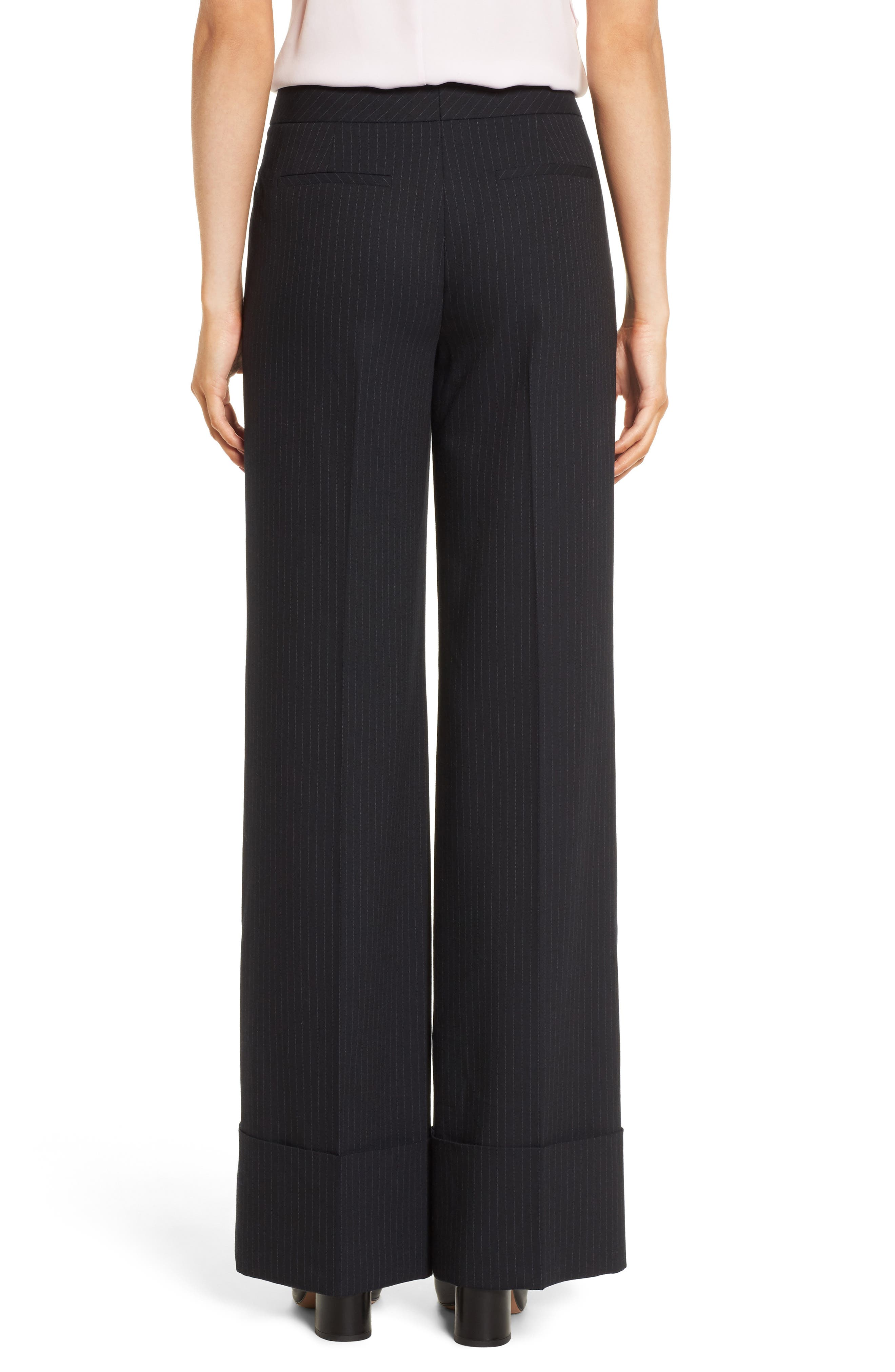 Cuffed Wide Leg Pinstripe Suit Pants,                             Alternate thumbnail 2, color,