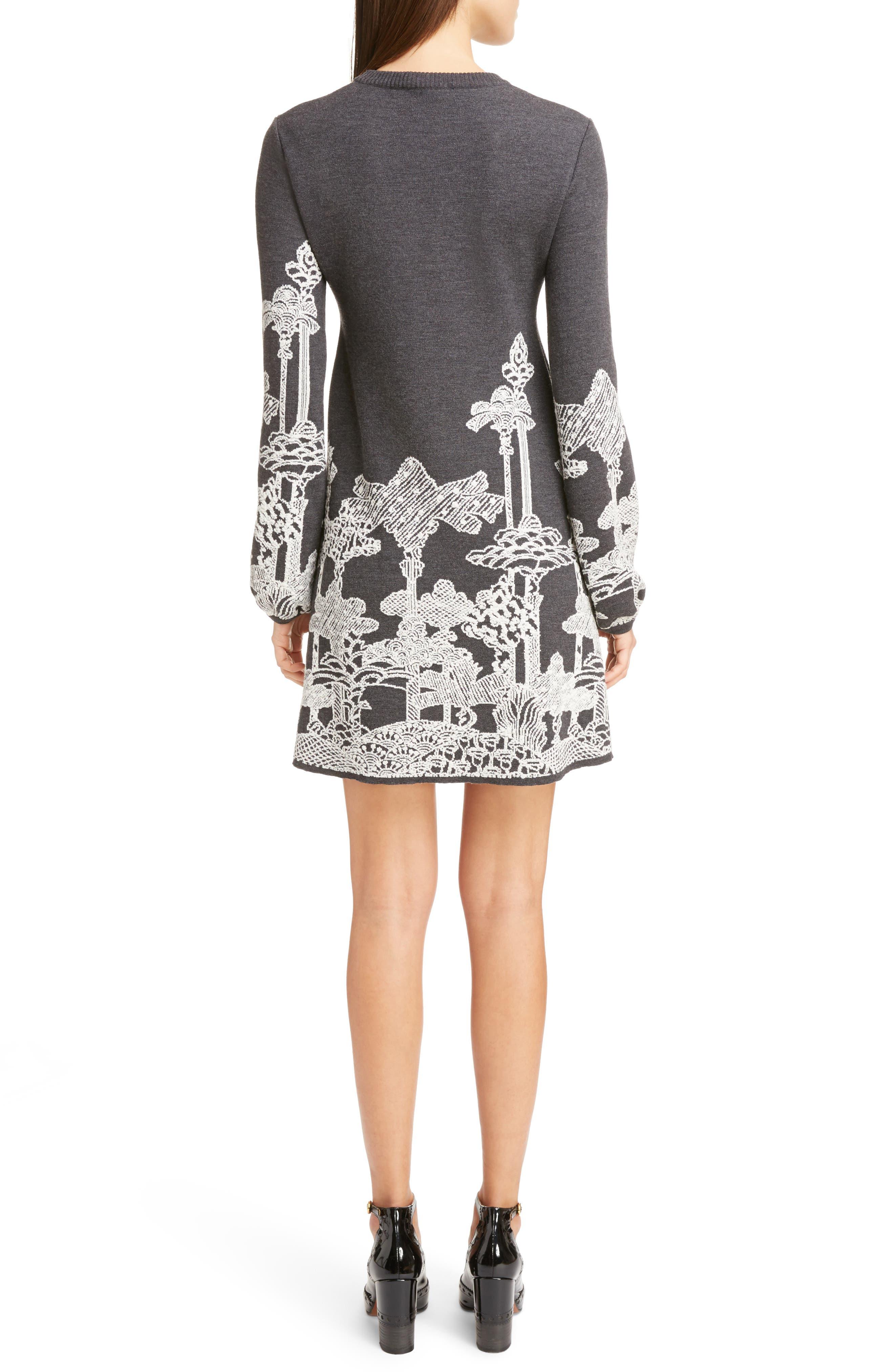 Merino Wool Dreamscape Jacquard Dress,                             Alternate thumbnail 2, color,                             020