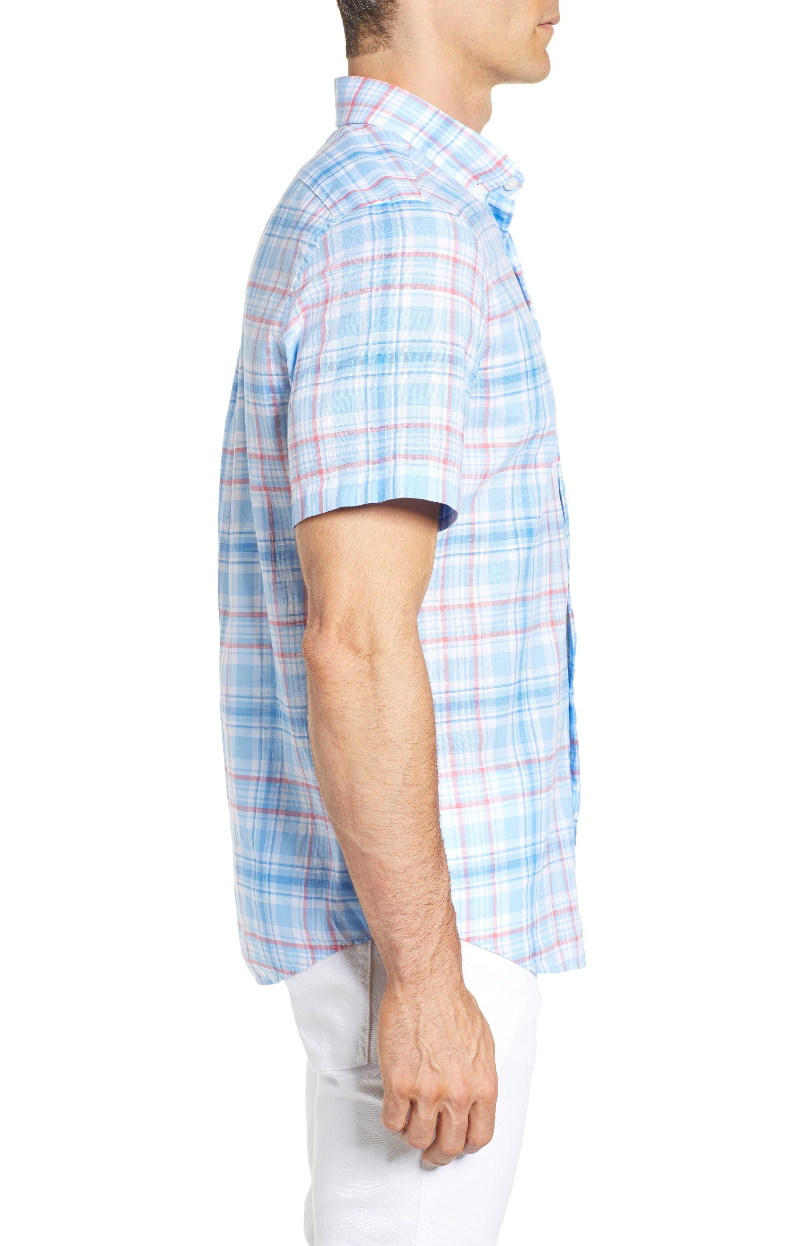 Fire Road Tucker Slim Fit Plaid Sport Shirt,                             Alternate thumbnail 3, color,                             484