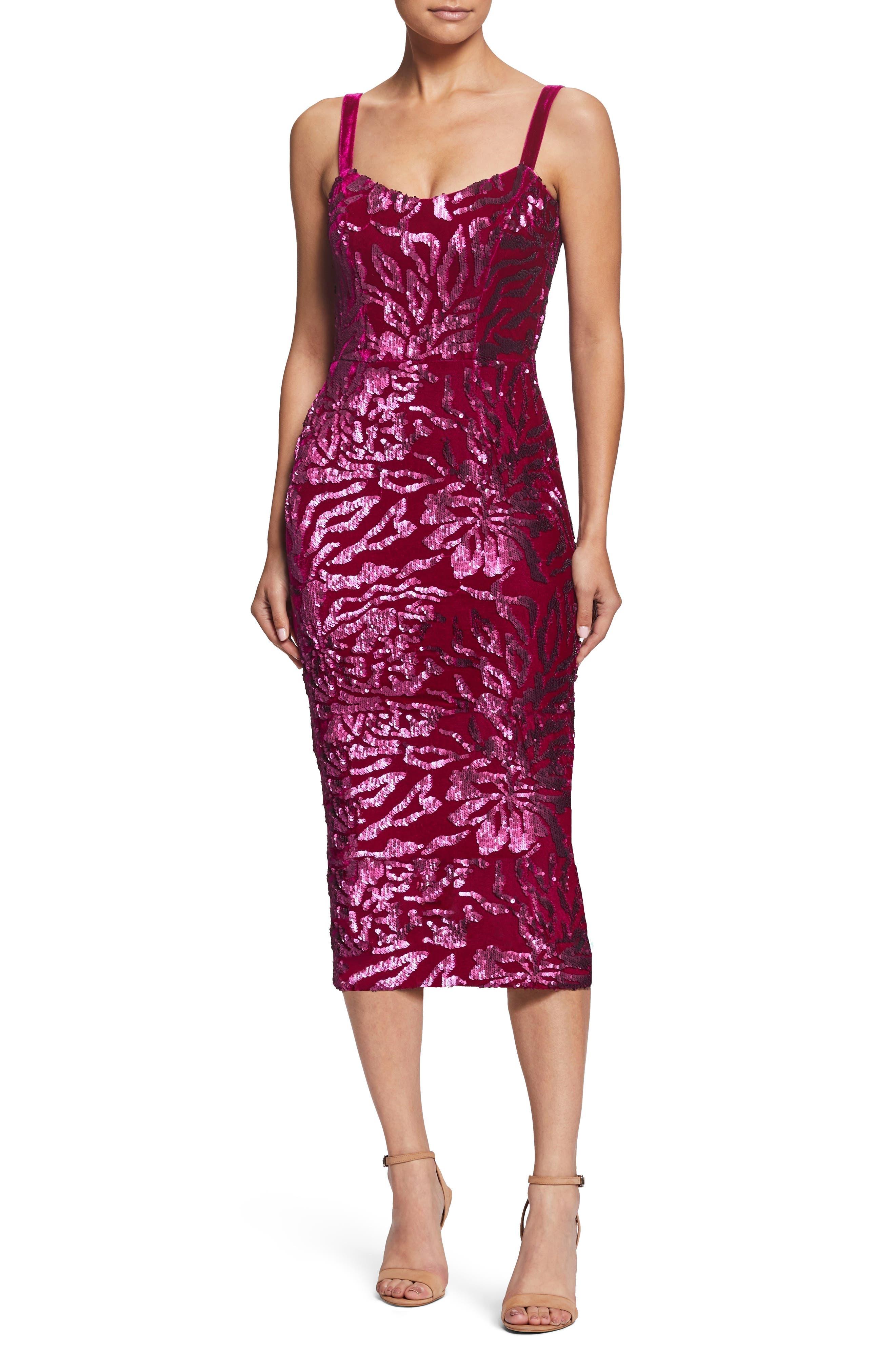 Dress The Population Lynda Sequin Velvet Body-Con Dress