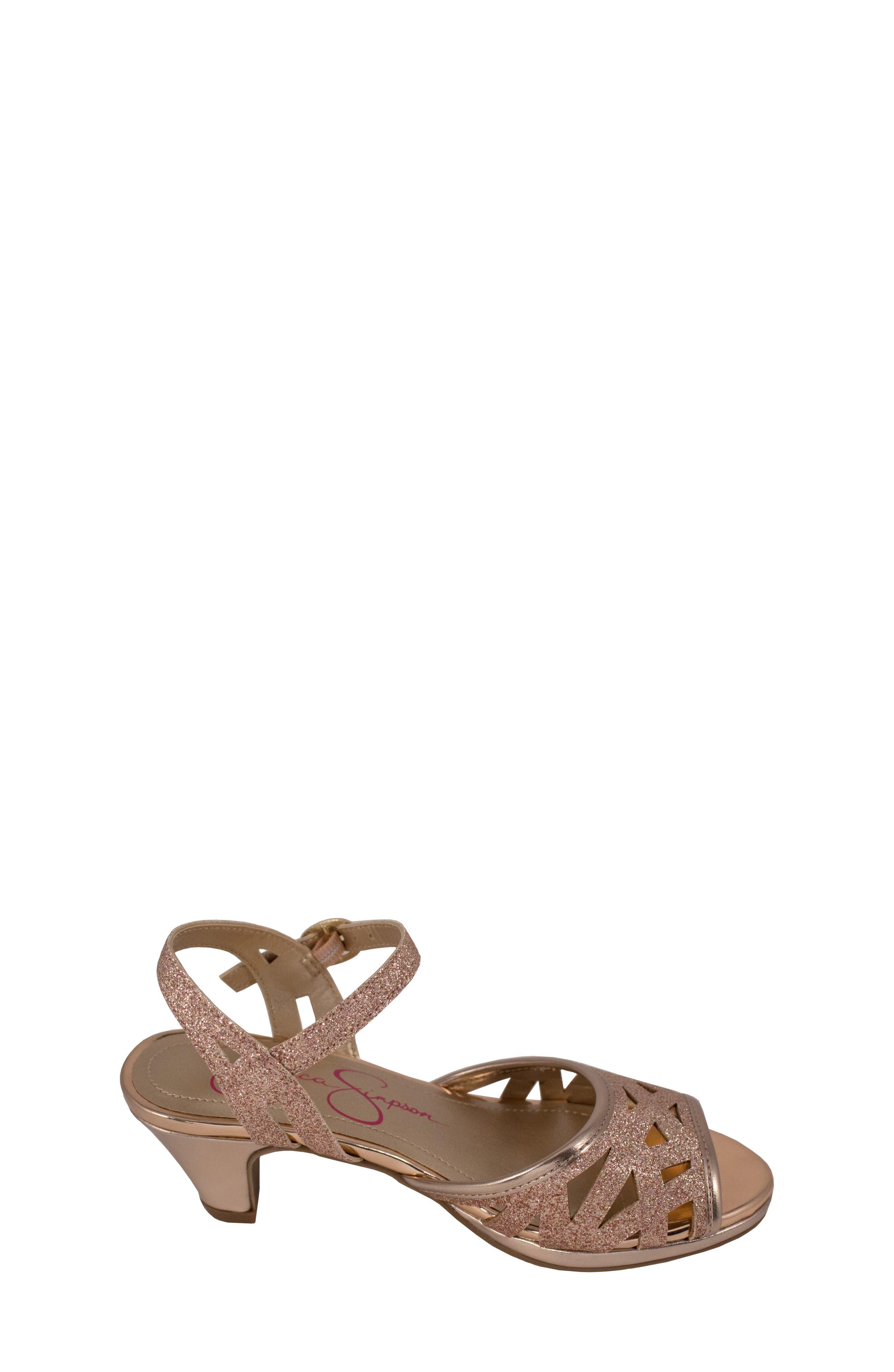 JESSICA SIMPSON,                             Glitter Sandal,                             Alternate thumbnail 3, color,                             ROSE GOLD