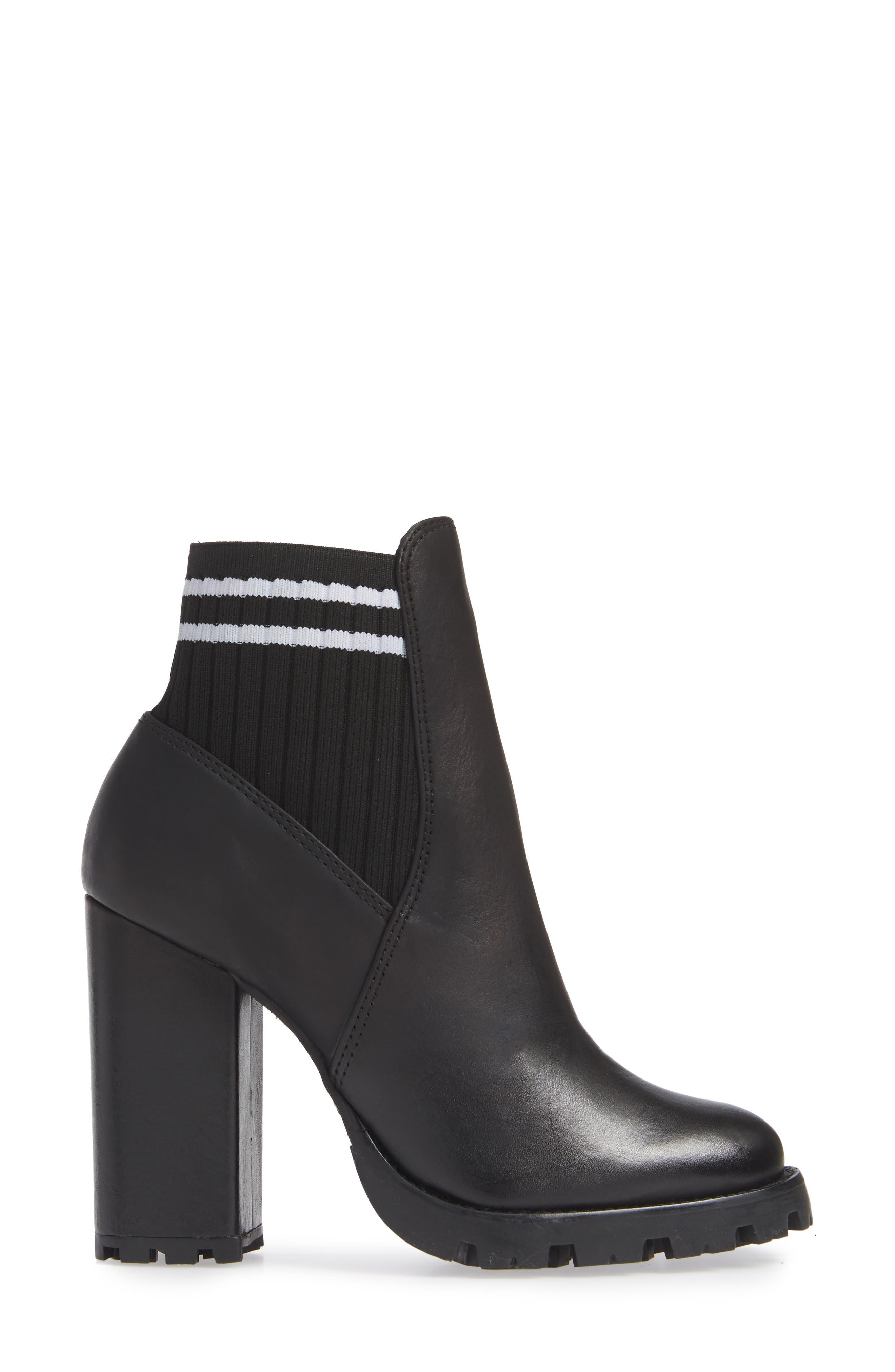 Ilenne Platform Sock Bootie,                             Alternate thumbnail 3, color,                             BLACK/ WHITE