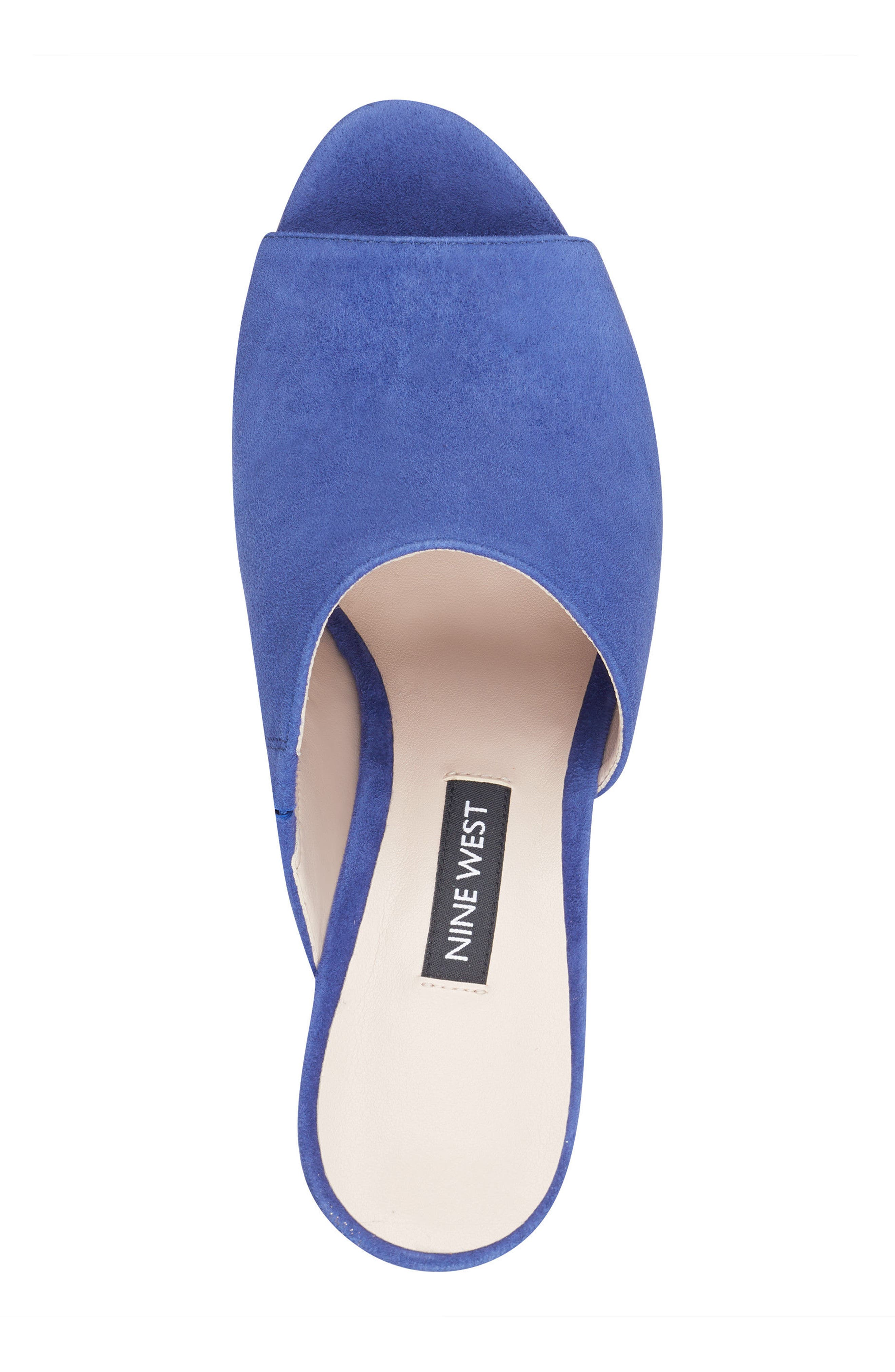 Janissah Wedge,                             Alternate thumbnail 5, color,                             DARK BLUE SUEDE