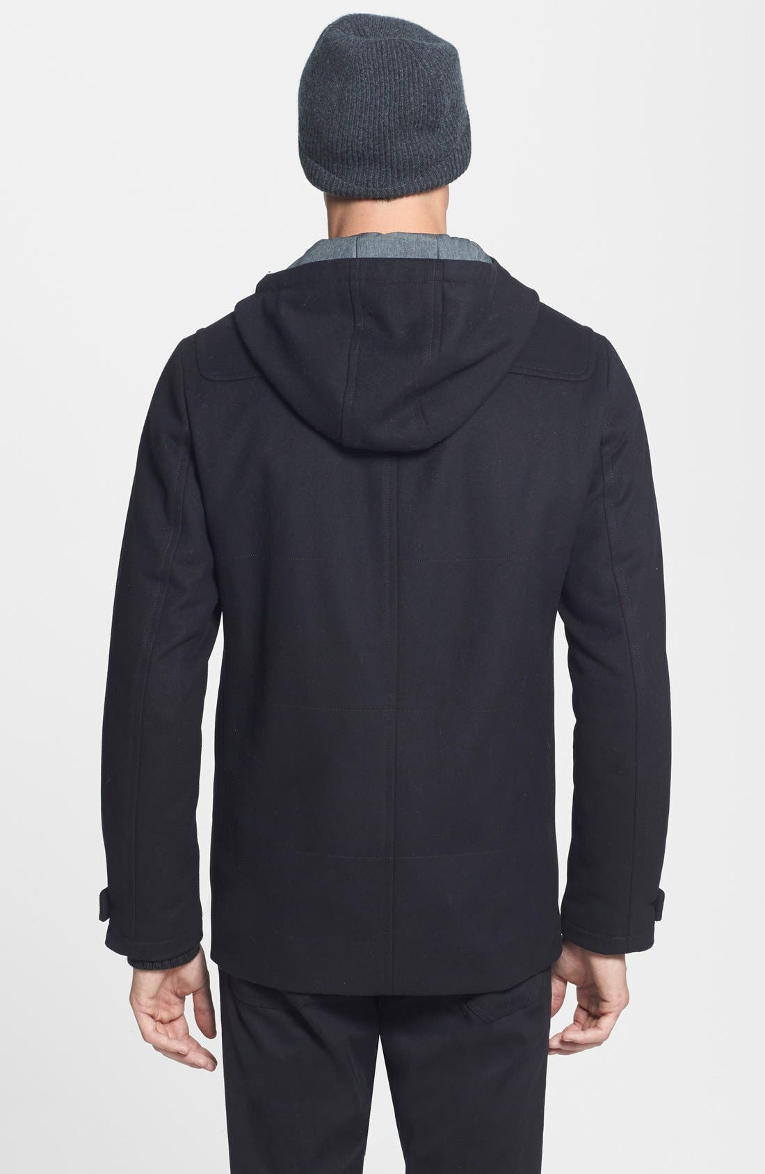 'City' Wool Blend Hooded Toggle Coat,                             Alternate thumbnail 4, color,                             001