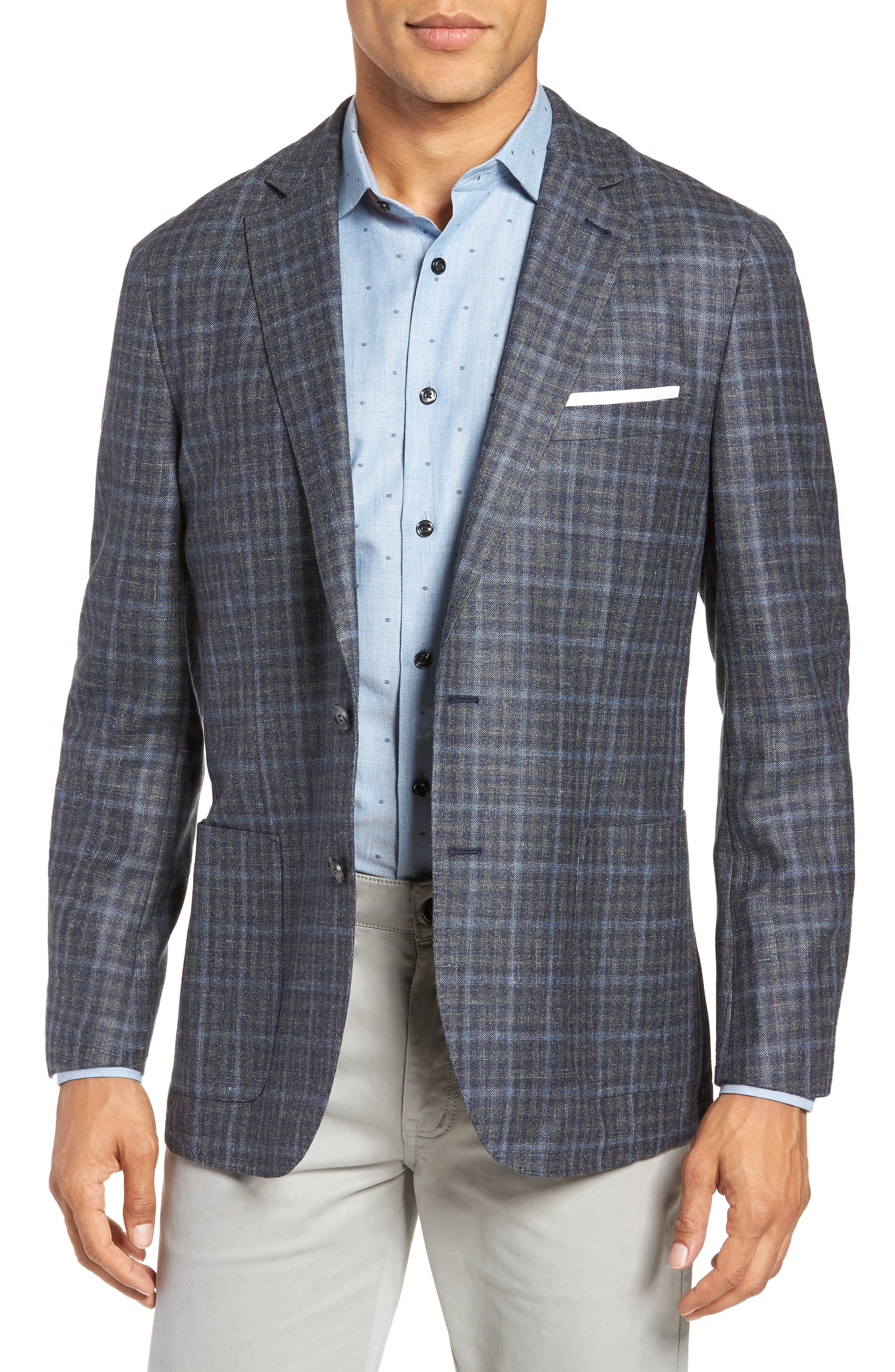 Crown Wool & Silk Blend Plaid Sport Coat,                             Main thumbnail 1, color,                             GREY