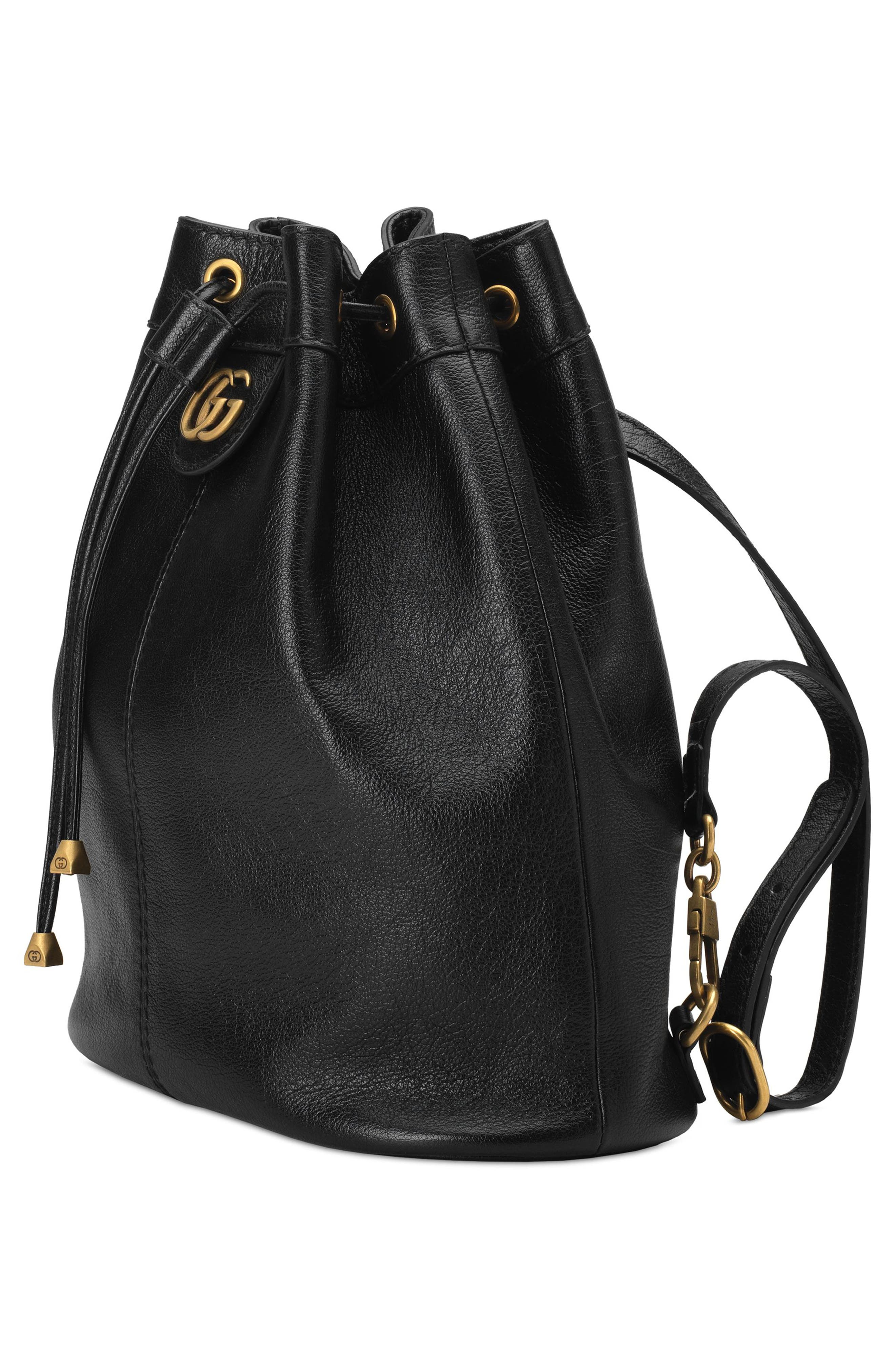 Medium RE(BELLE) Leather Convertible Bucket Bag,                             Alternate thumbnail 4, color,                             001