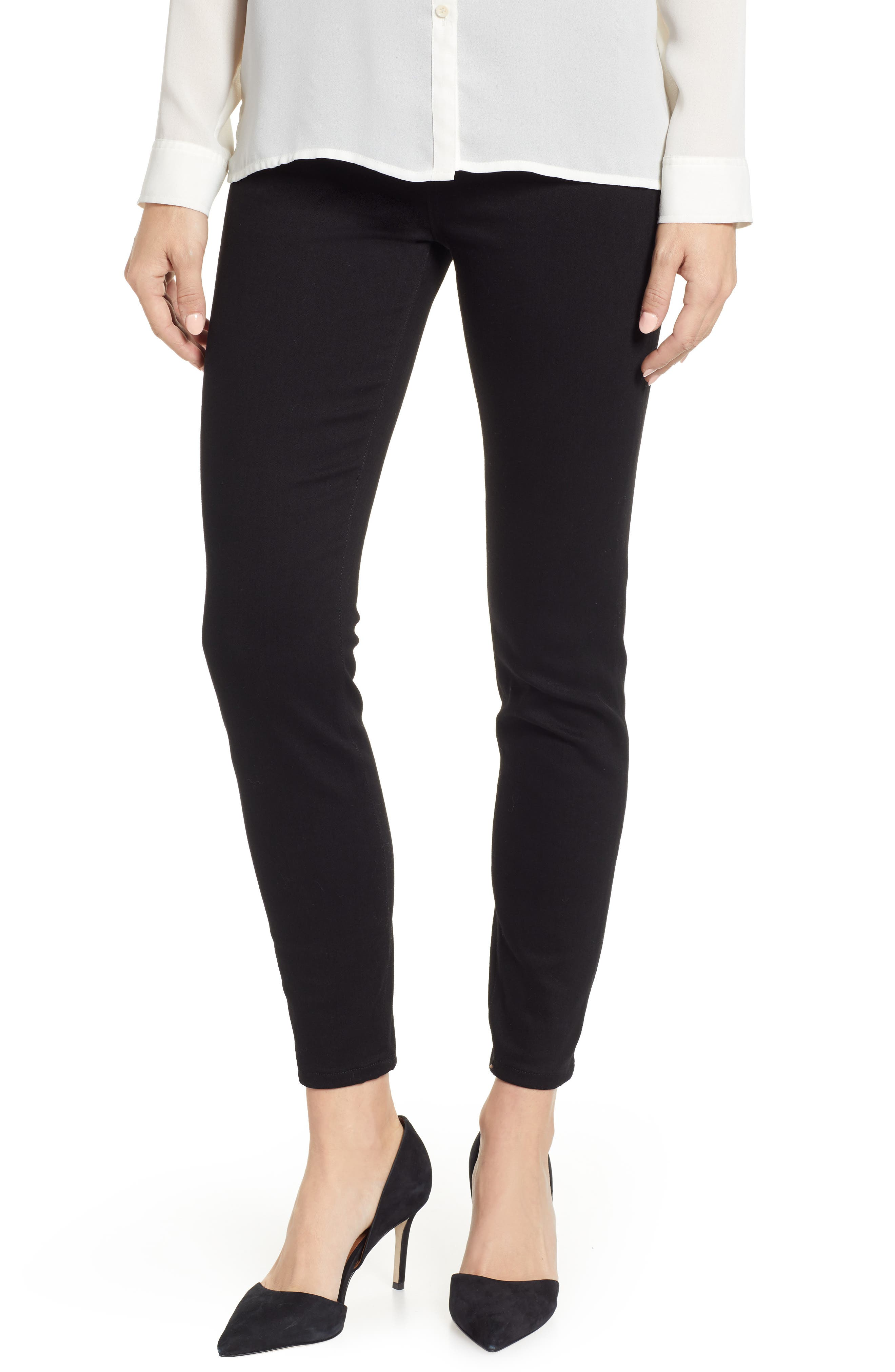 Chloe Pull-On Stretch Skinny Ankle Jeans,                             Main thumbnail 1, color,                             BLACK RINSE
