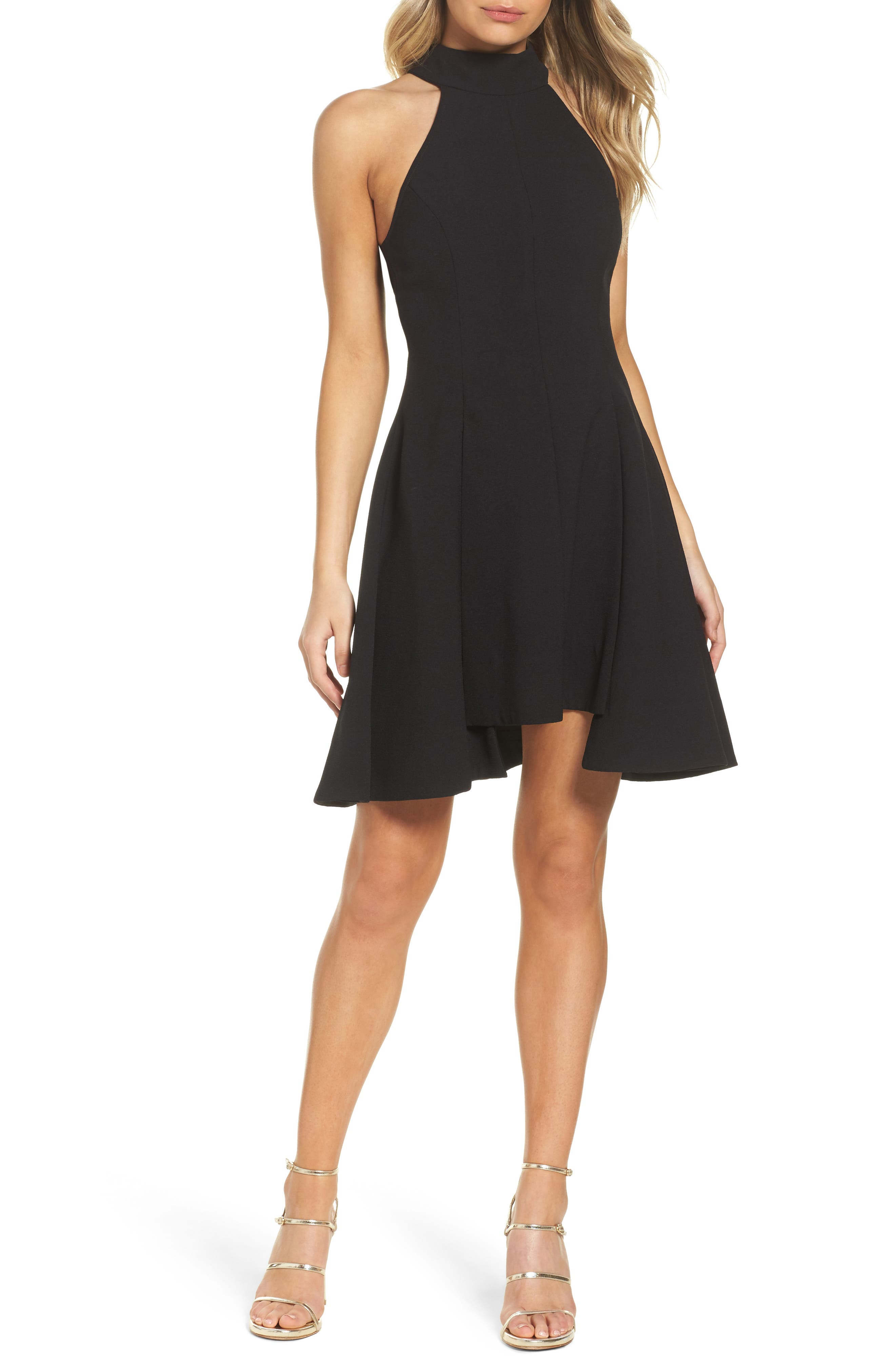 Fusion Halter Style Fit & Flare Dress,                             Main thumbnail 1, color,                             001